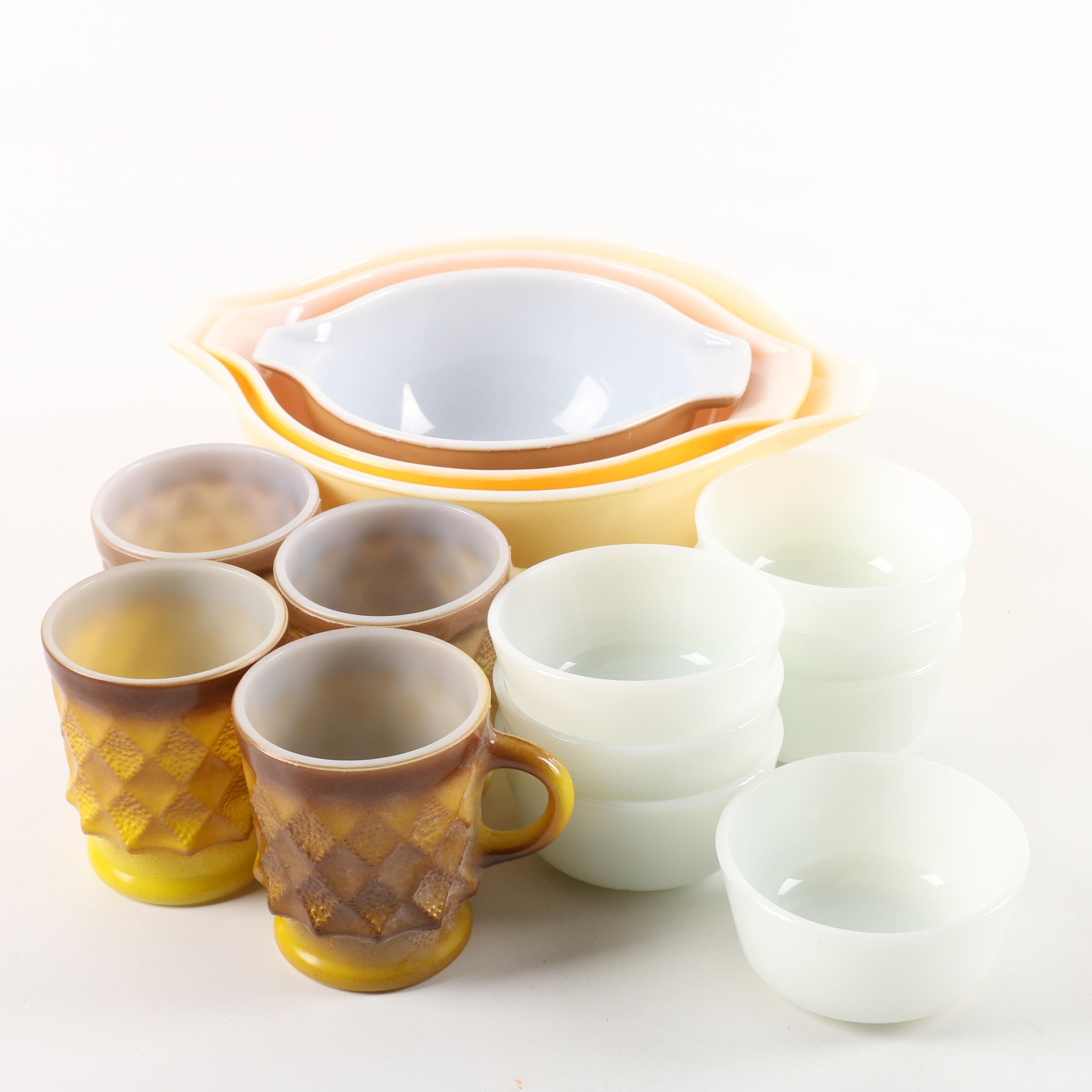 "Vintage Anchor Hocking ""Kimberly"" Glass Mugs with Ramekins and Pyrex Bowls"