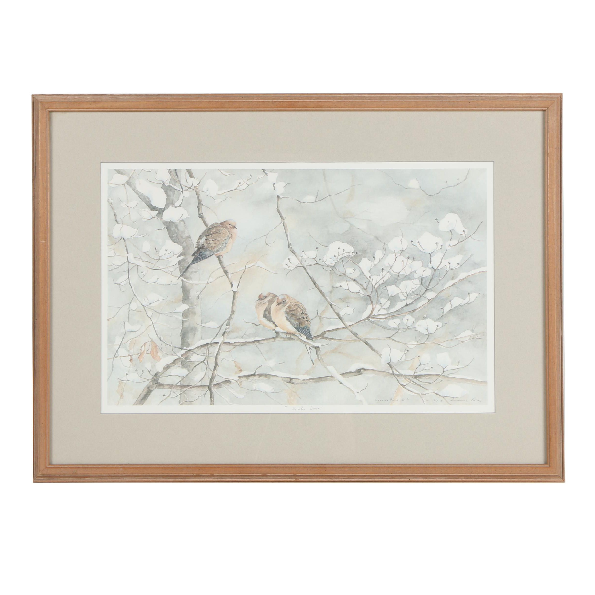 "Susanne Riva 1991 Limited Edition Offset Lithograph ""Winter Doves"""
