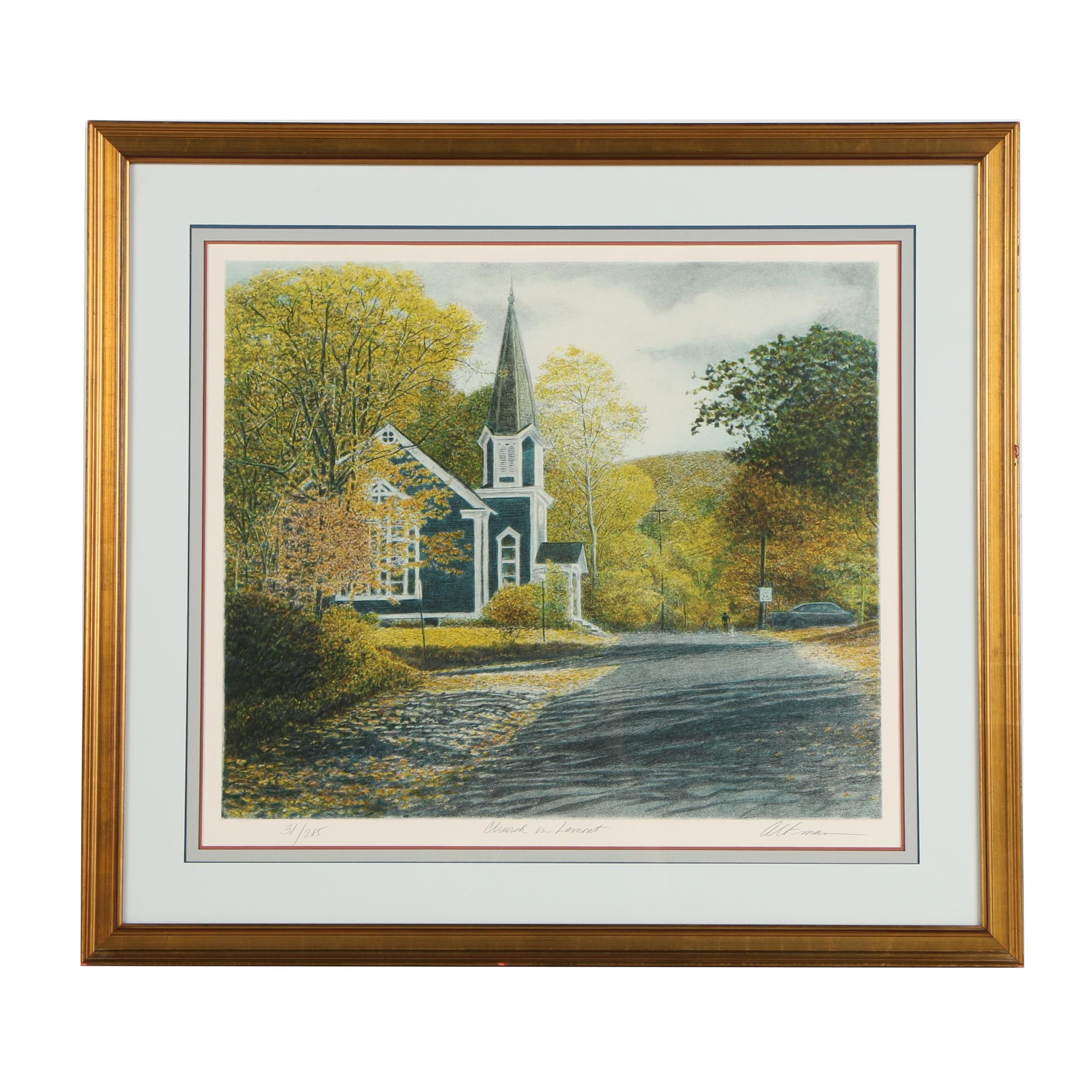 "Harold Altman Lithograph ""Church in Lemont"""