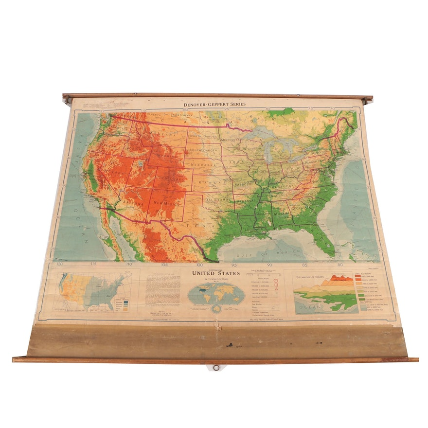 1953 Denoyer-Geppert Pull Down Map Continental United States : EBTH
