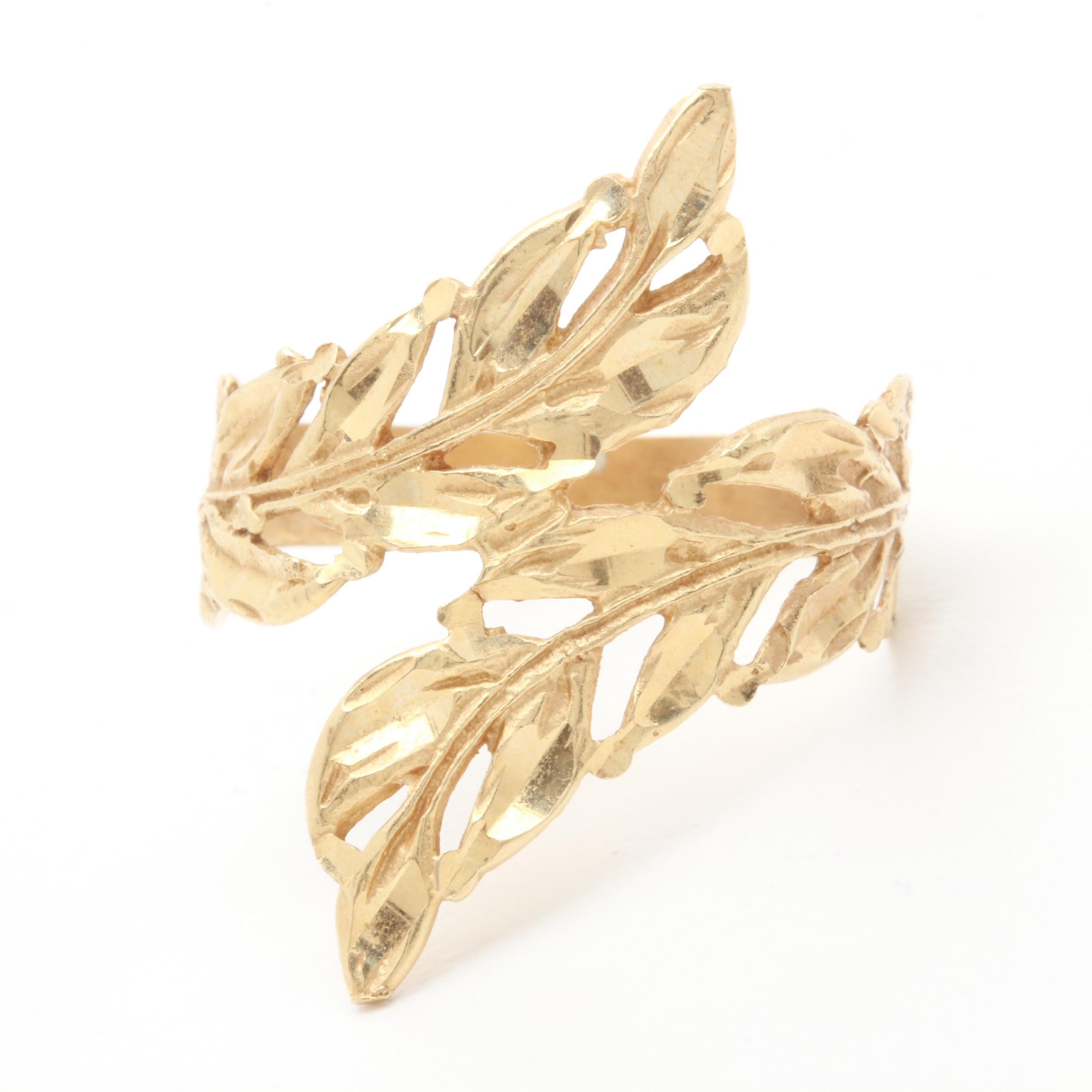 14K Yellow Gold Olive Branch Ring