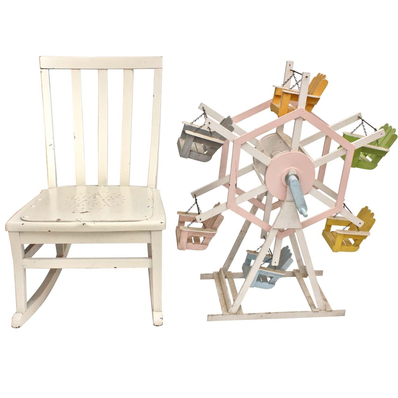 Antique Rocking Chair and Children's Ferris Wheel