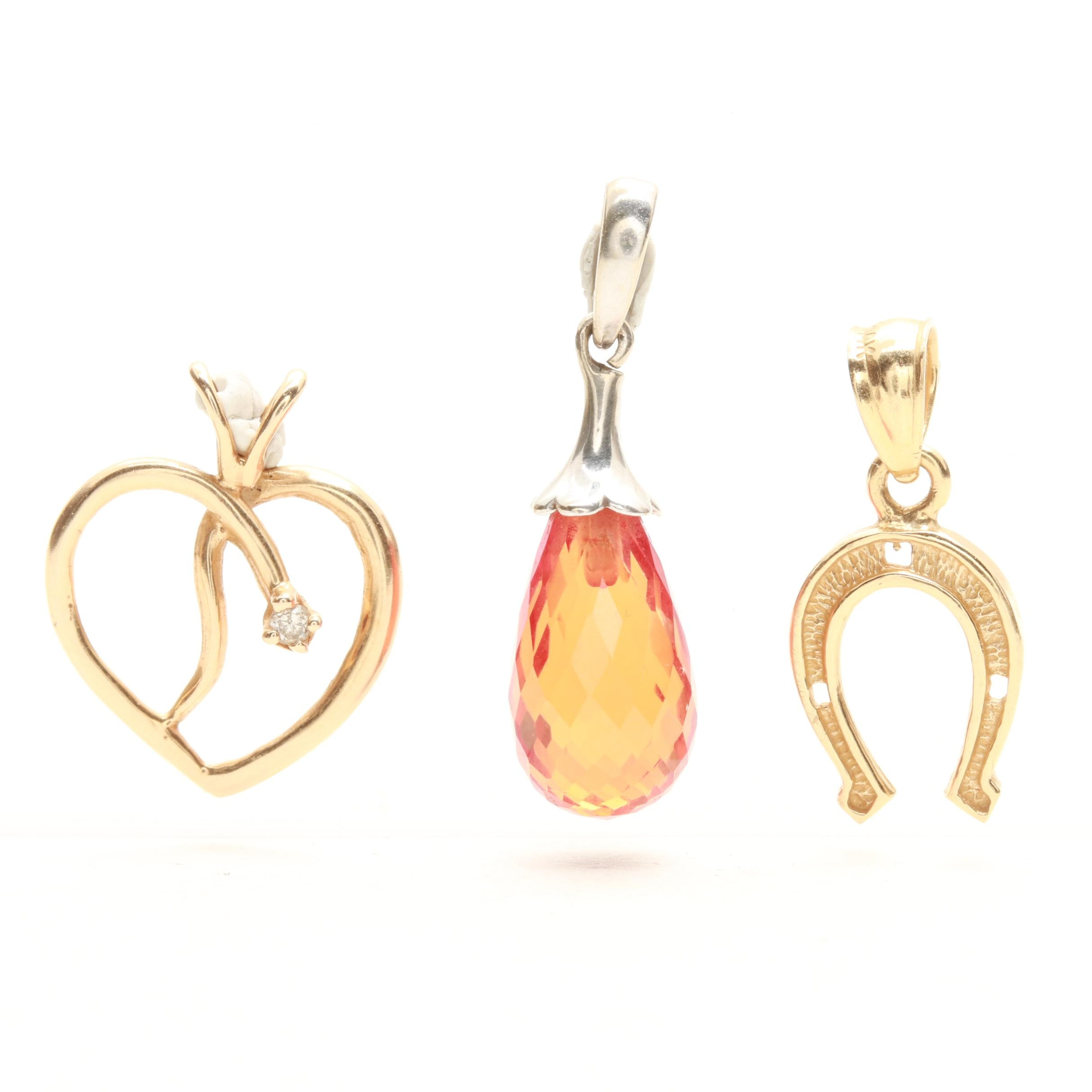 14K White and Yellow Gold Diamond and Synthetic Sapphire Pendants
