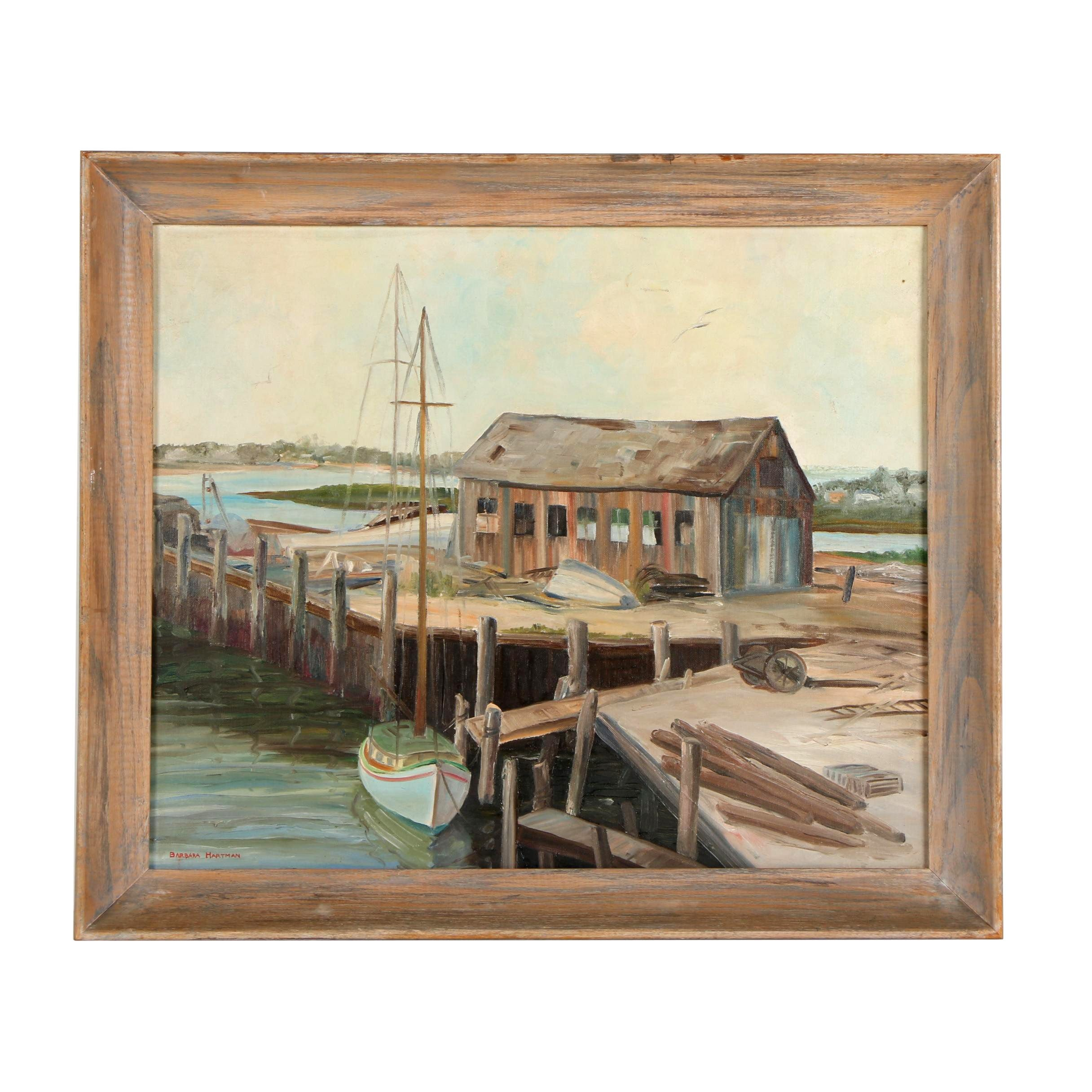 Barbara Hartman Oil Painting of Boat on a Dock