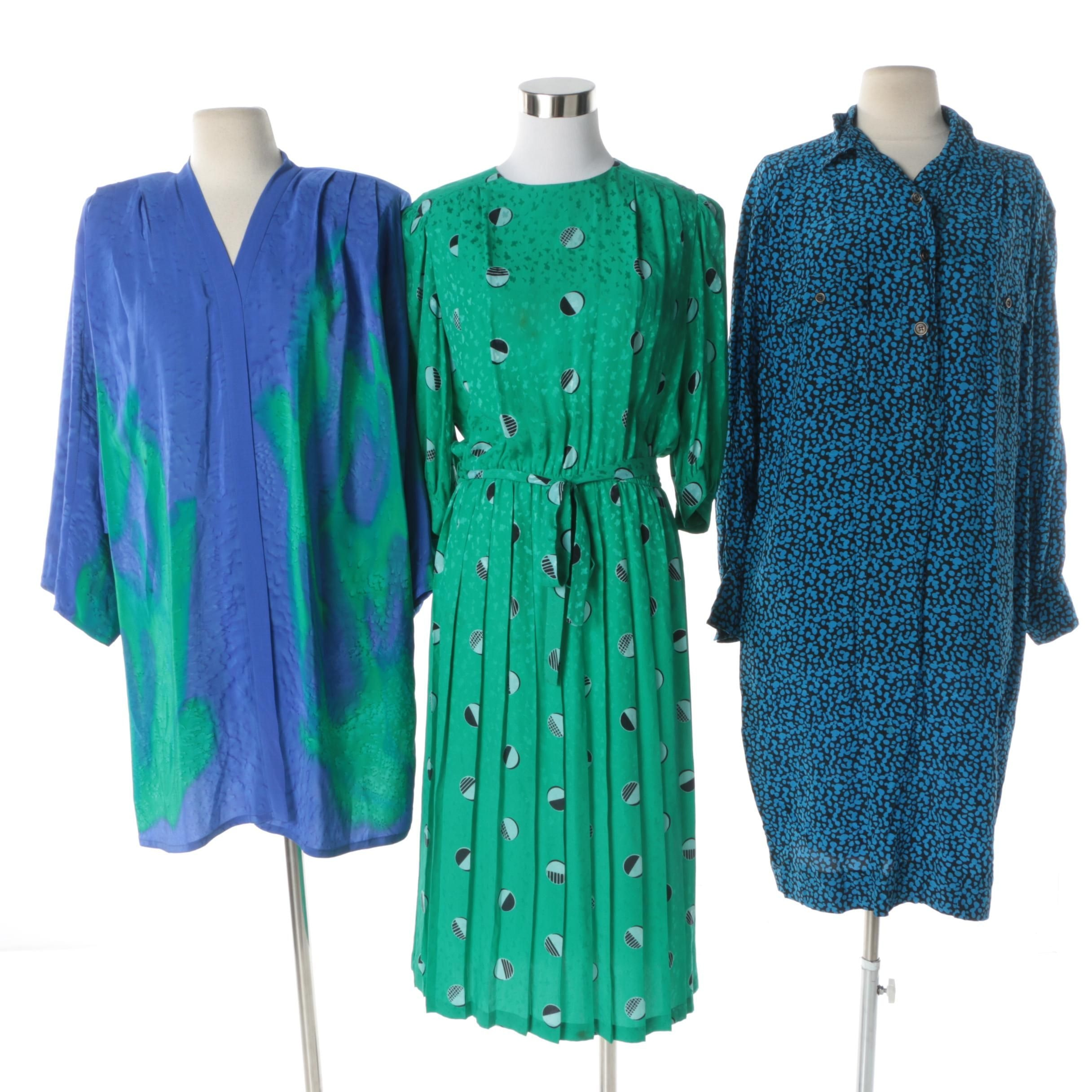 Women's Circa 1980 Silk Dresses and Jacket Including Adrianna Papell