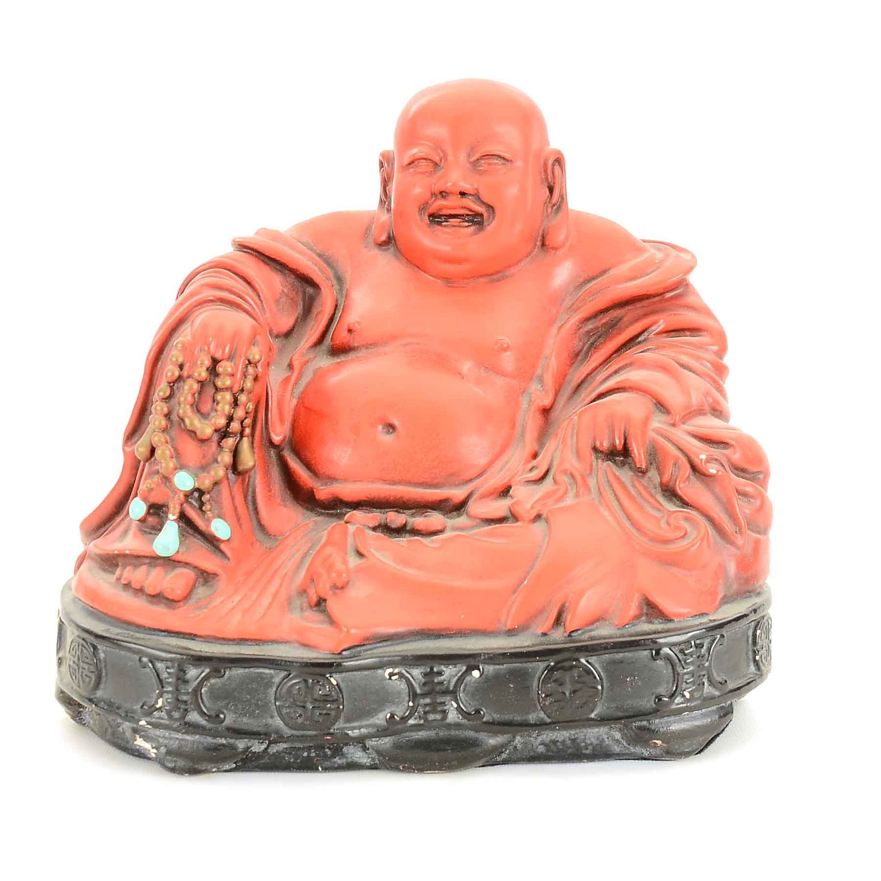 Ceramic Seated Laughing Buddha in Red