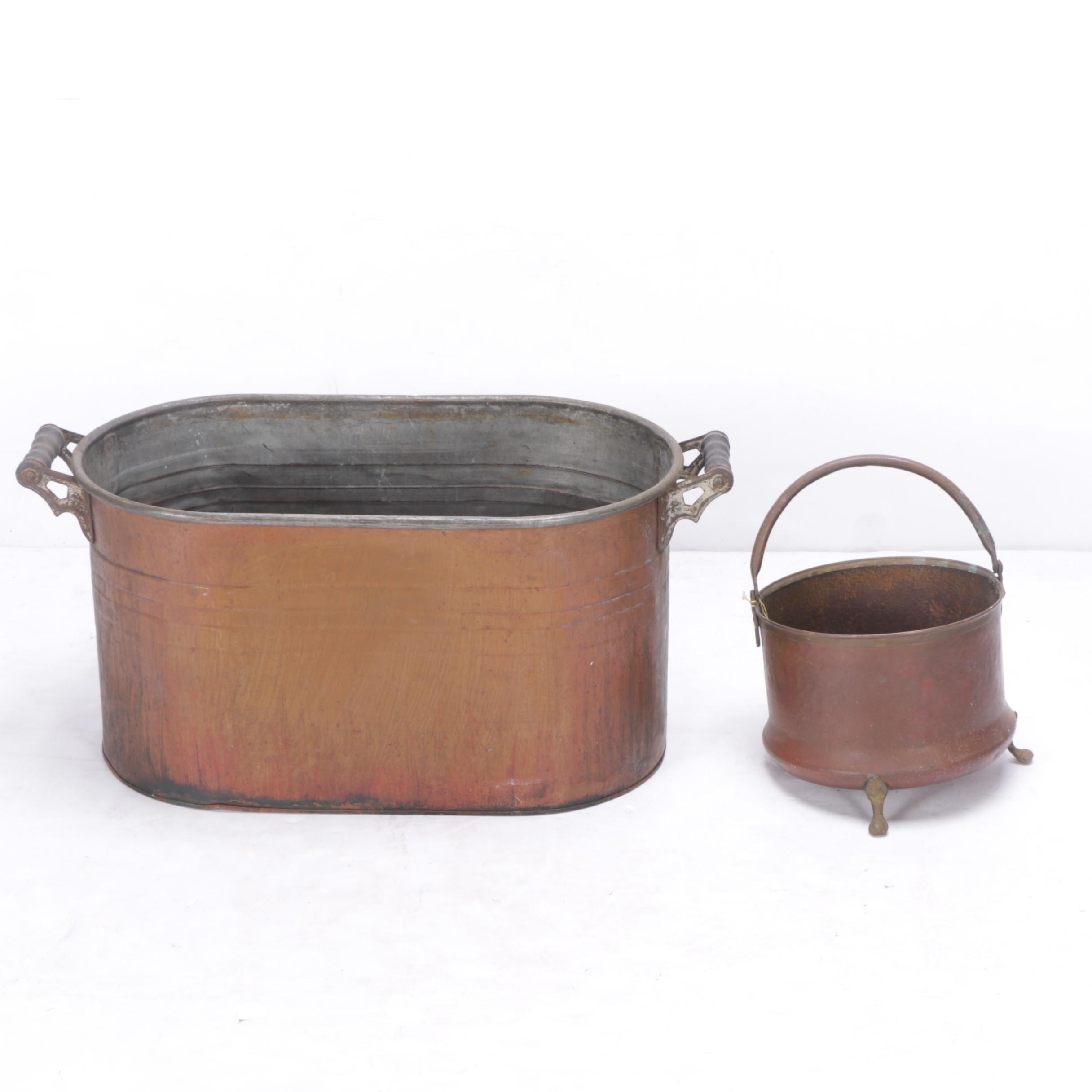Vintage Copper Boiler and Footed Cauldron
