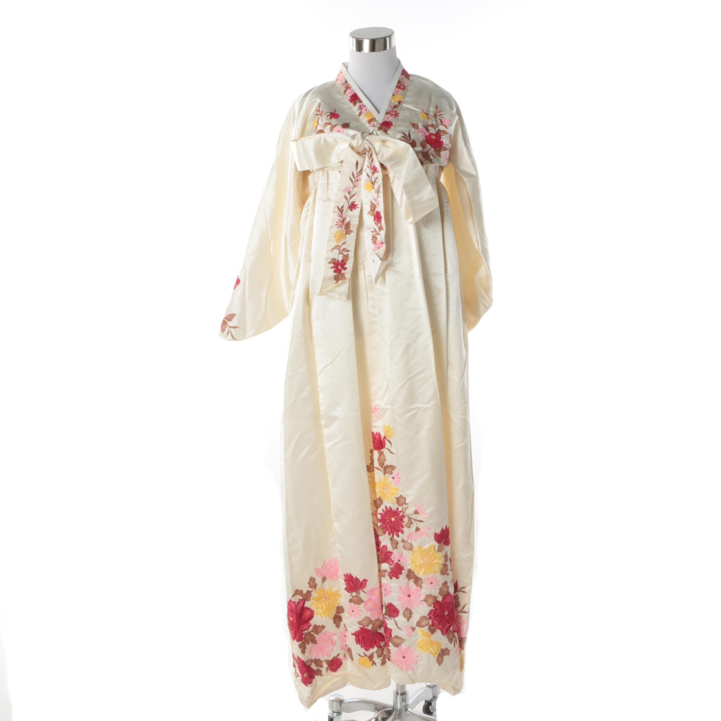 Vintage Korean Silk Hanbok and Sleeveless Dress with Floral Embroidery
