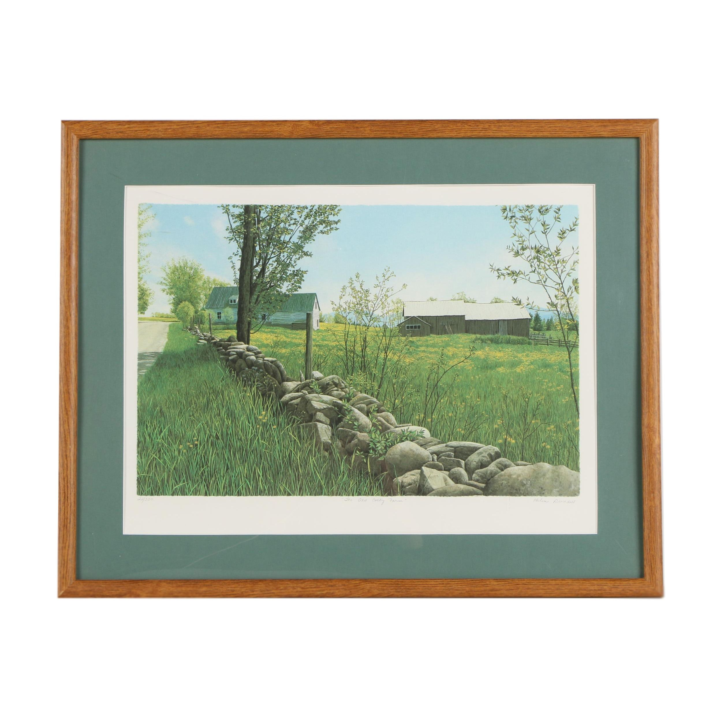 "Helen Rundell Lithograph ""The Old Colby Farm"""