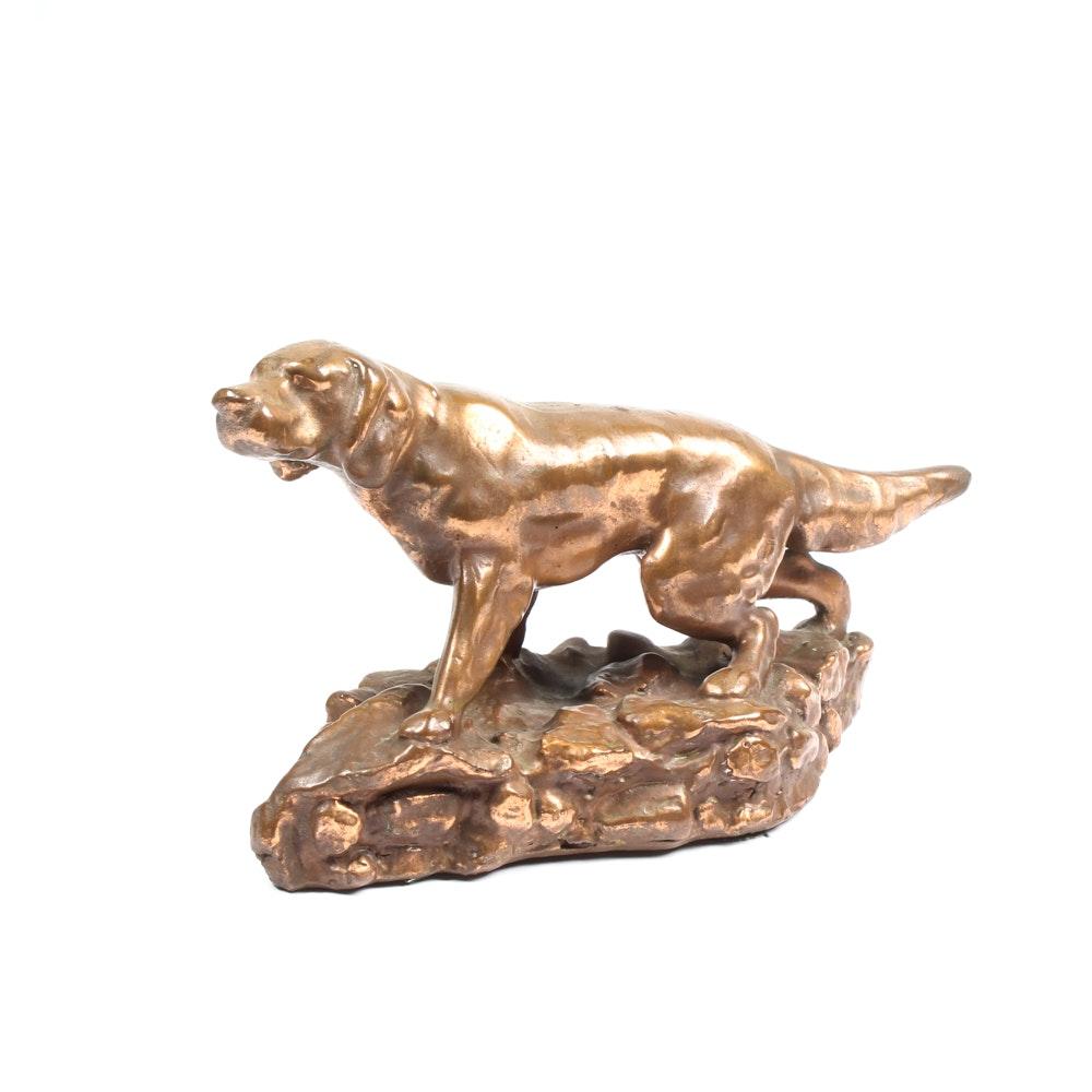 Vintage Bronze Clad Hunting Dog Sculpture