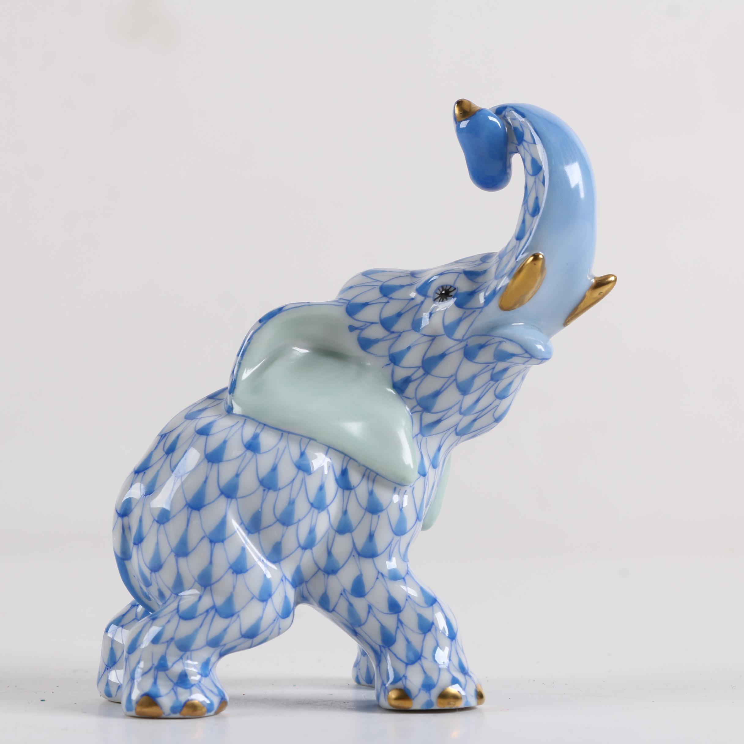 Herend Hungary Porcelain Elephant Figurine ...