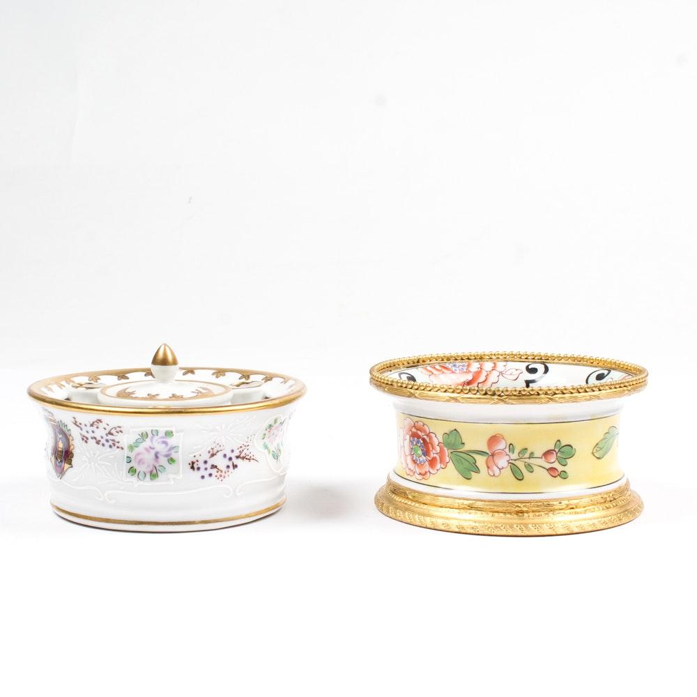 Vintage Porcelain Inkwells Featuring Sevres