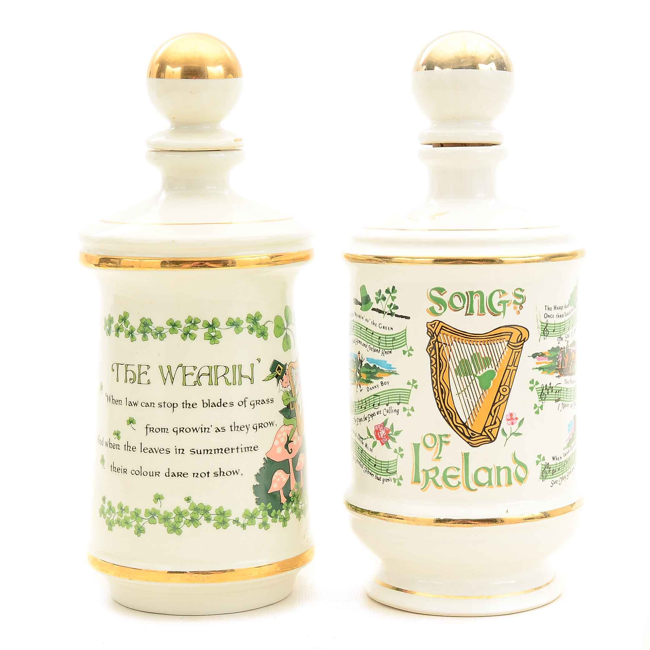 Pair of Irish Themed Porcelain Decanters