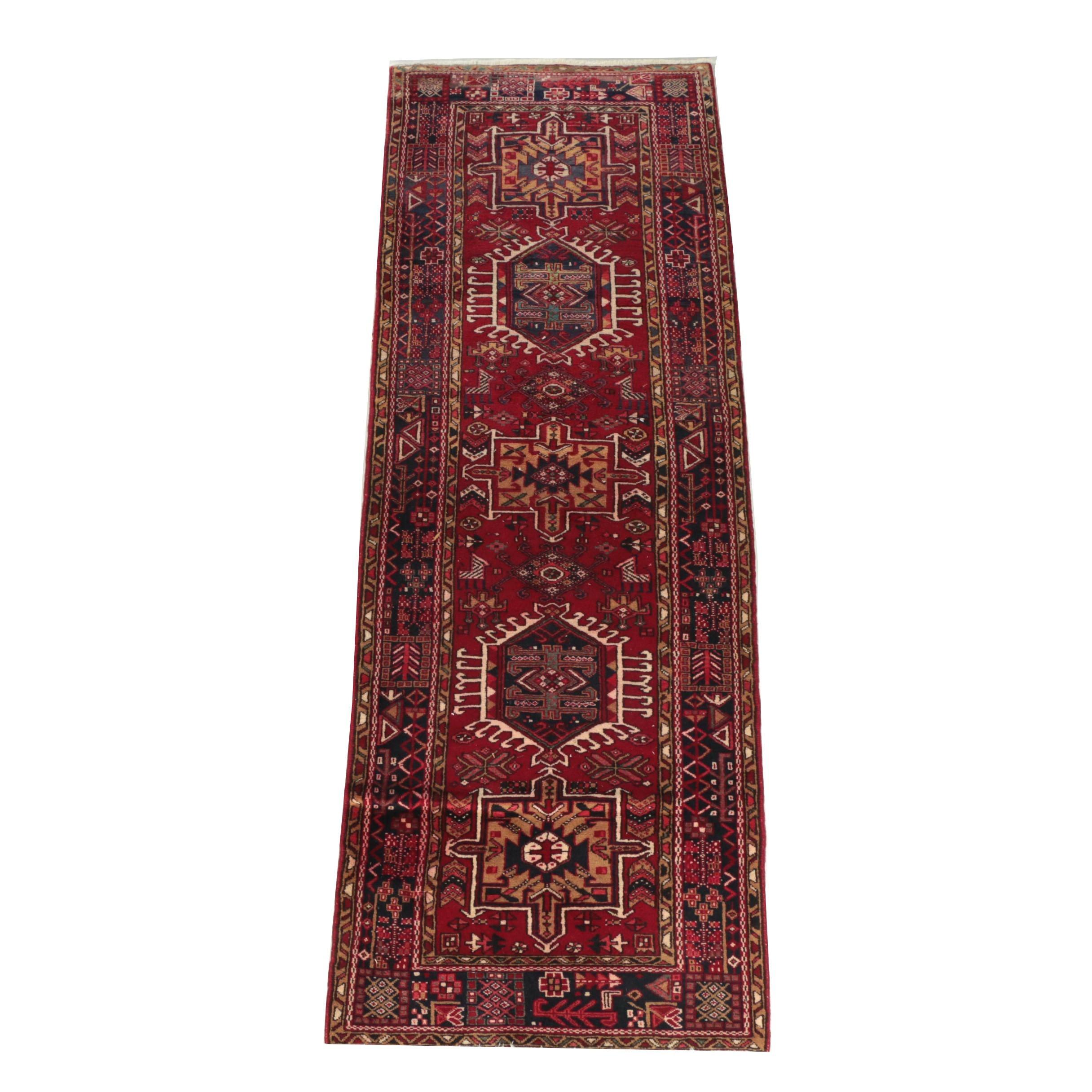 "Hand-Knotted Persian ""Garaja"" Wool Carpet Runner"
