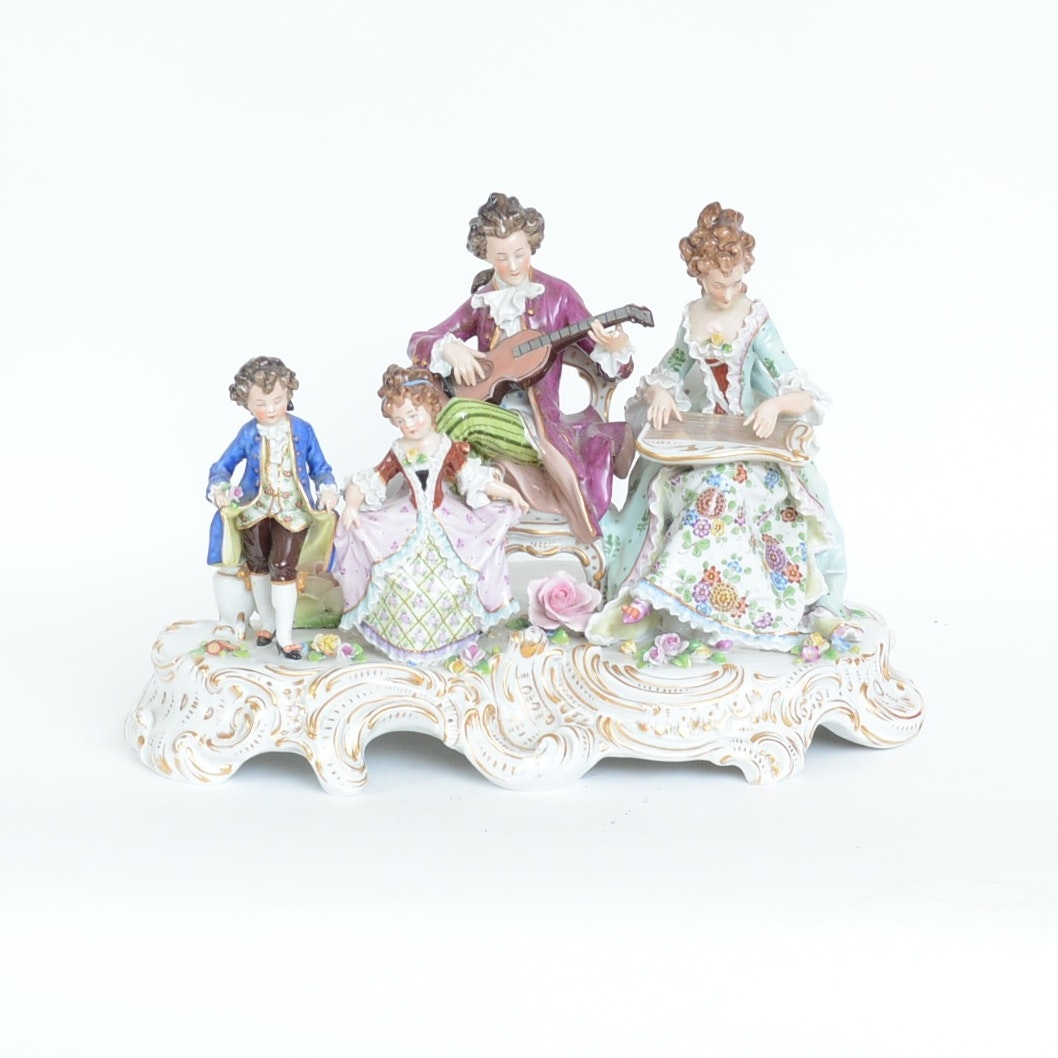 18th Century Style Sitzendorf Hand-Painted Porcelain Figurine