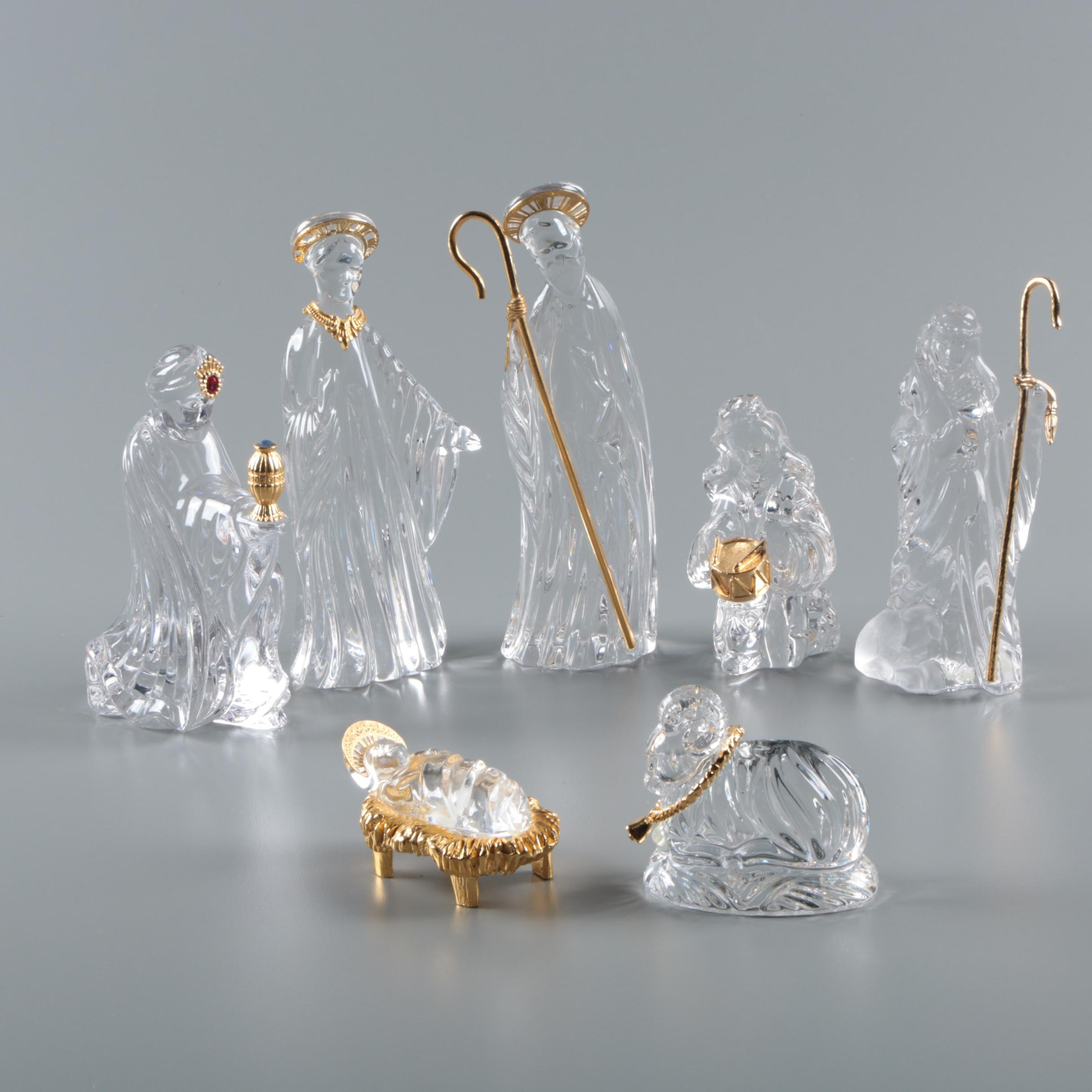"Gorham Crystal ""Nativity"" Crèche Figurines"