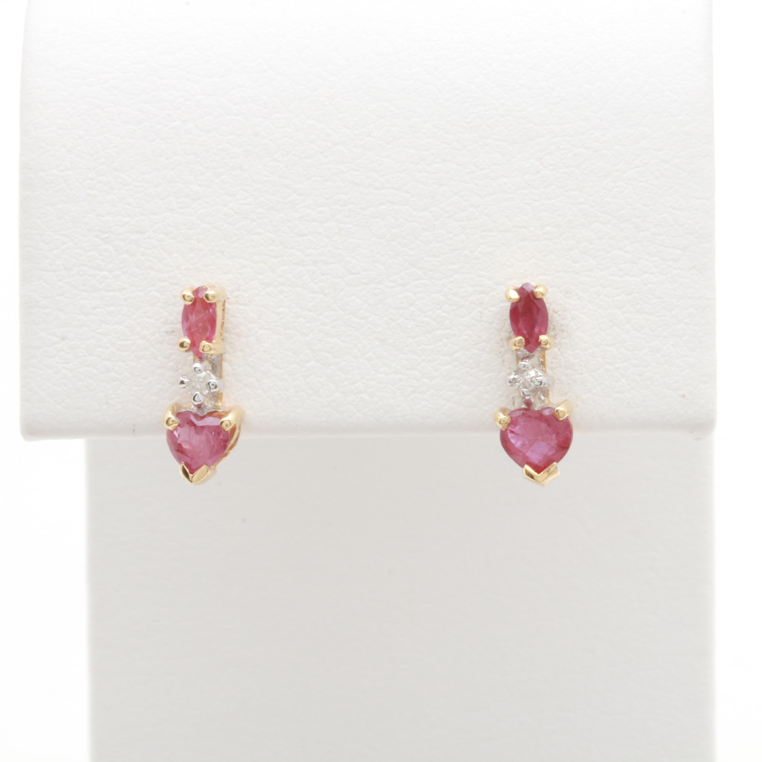 14K Yellow Gold Ruby and Diamond Accented Earrings