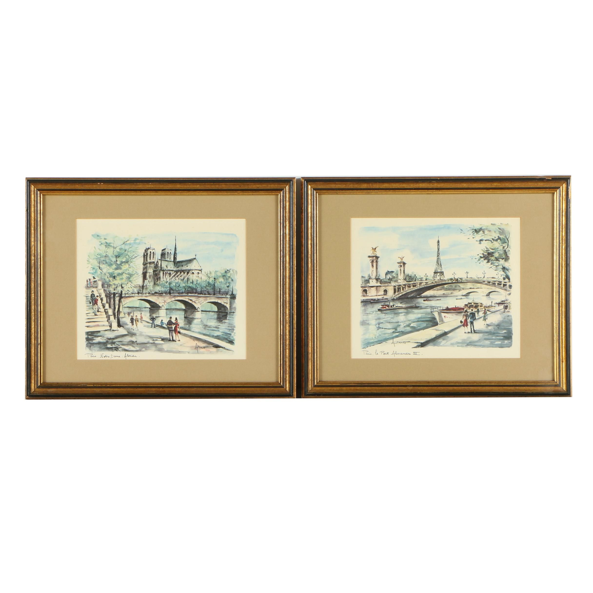 Offset Lithographs after Arno of Paris