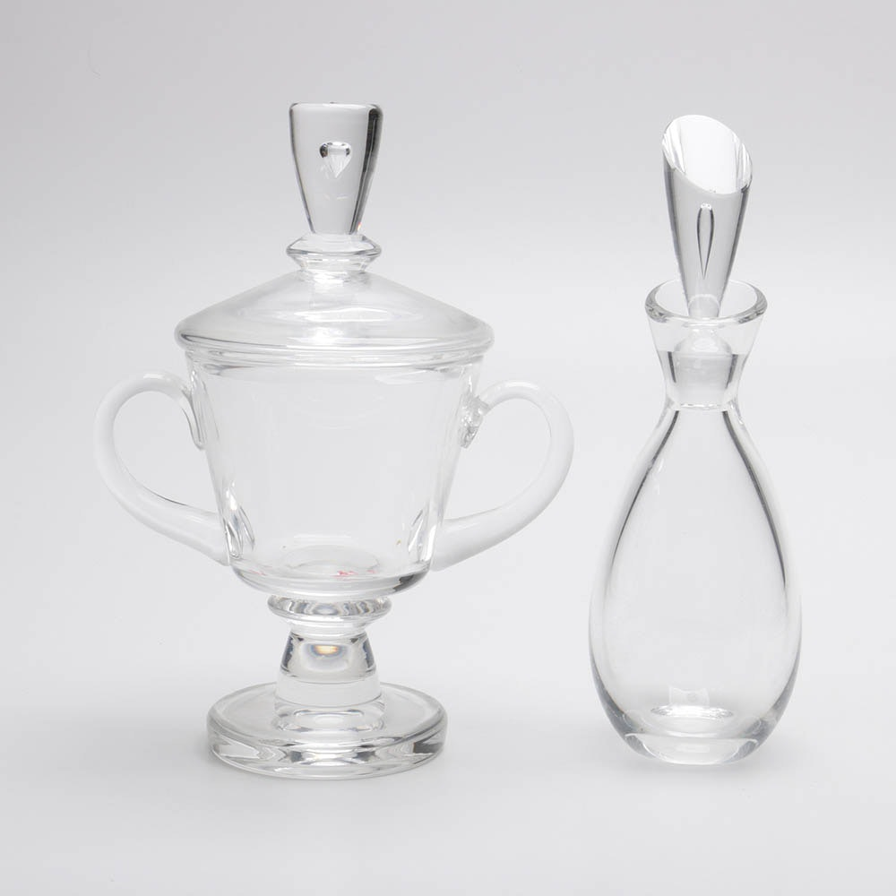 1930's Signed Steuben Glass Covered Urn or Candy Dish with 1950s Decanter