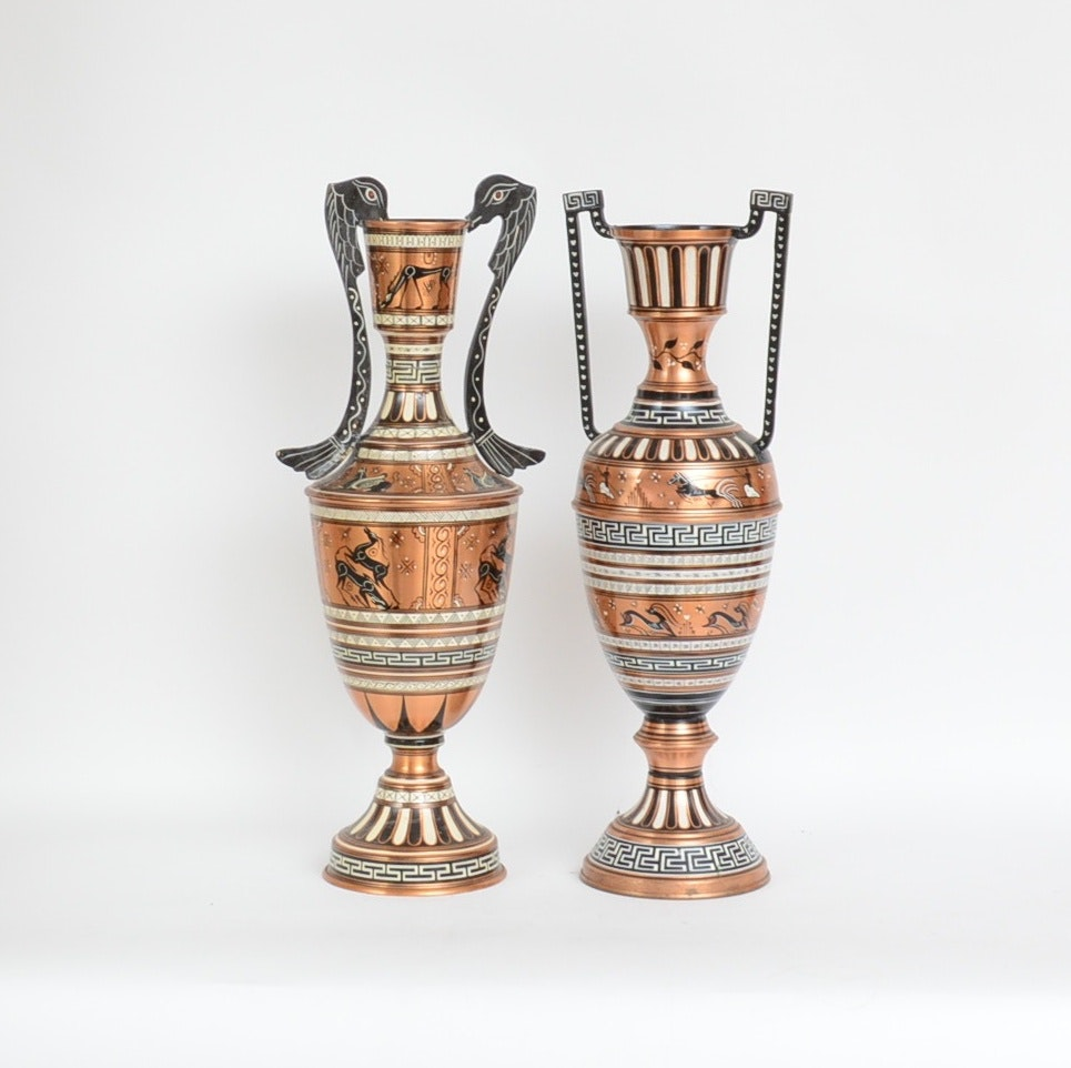Pair of Roman-Inspired Copper Urns