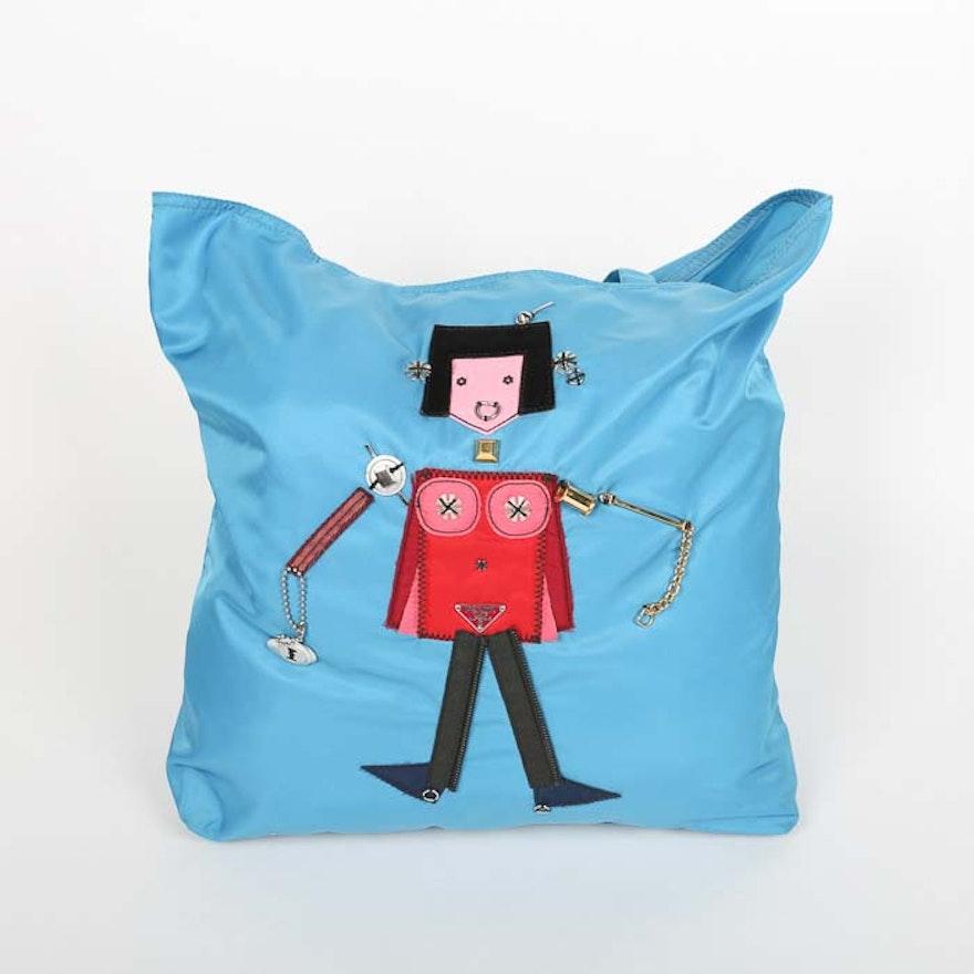 015ef890a896 Prada Begonia Tessuto Robot Blue Nylon Shopper Tote : EBTH