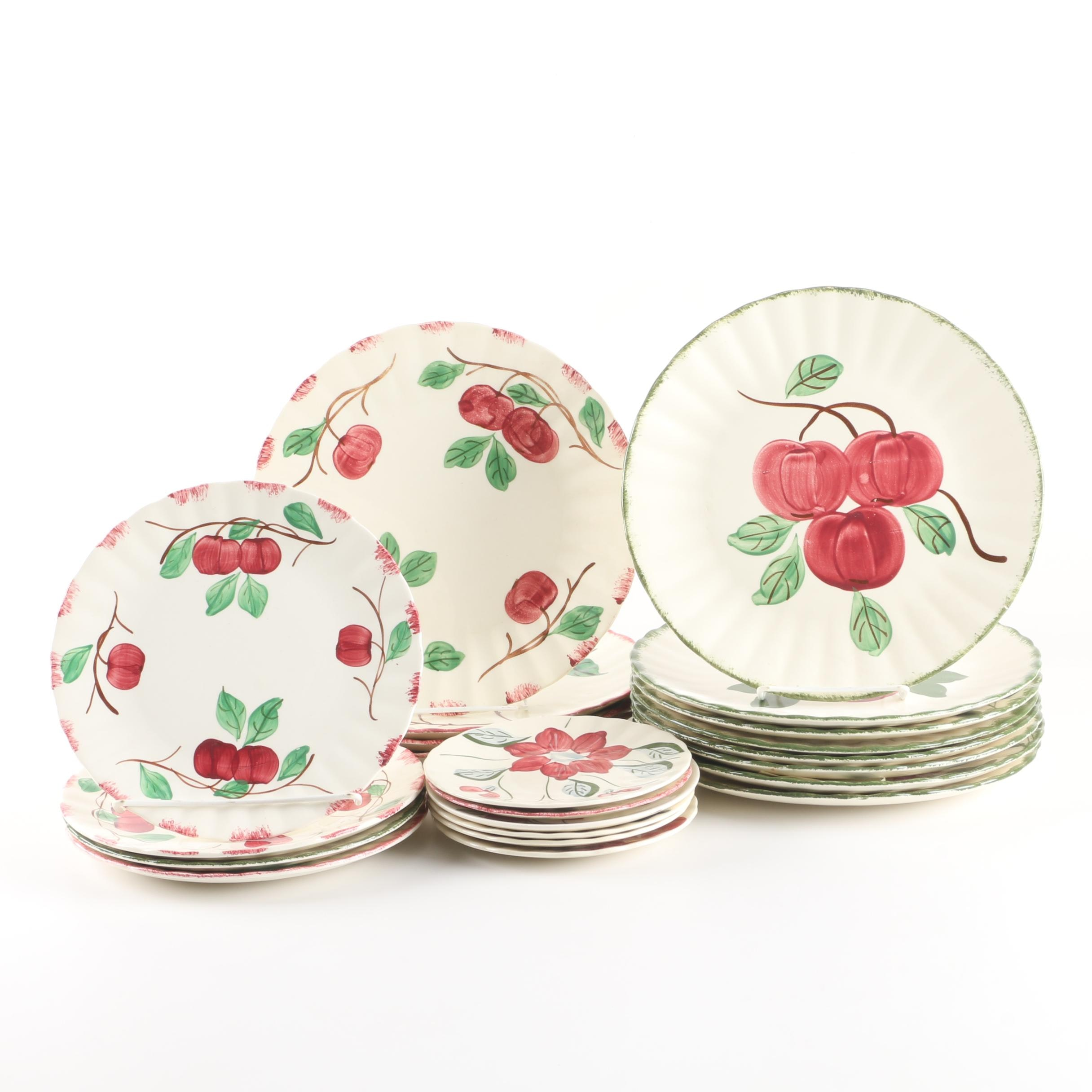 Blue Ridge Pottery Floral and Fruit Motif Dinnerware