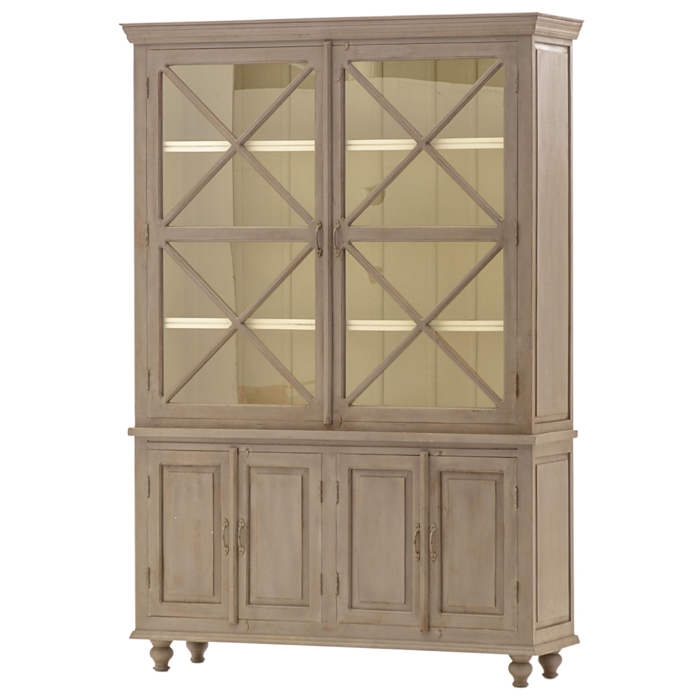 2-Piece China Cabinet with Grey Painted Finish
