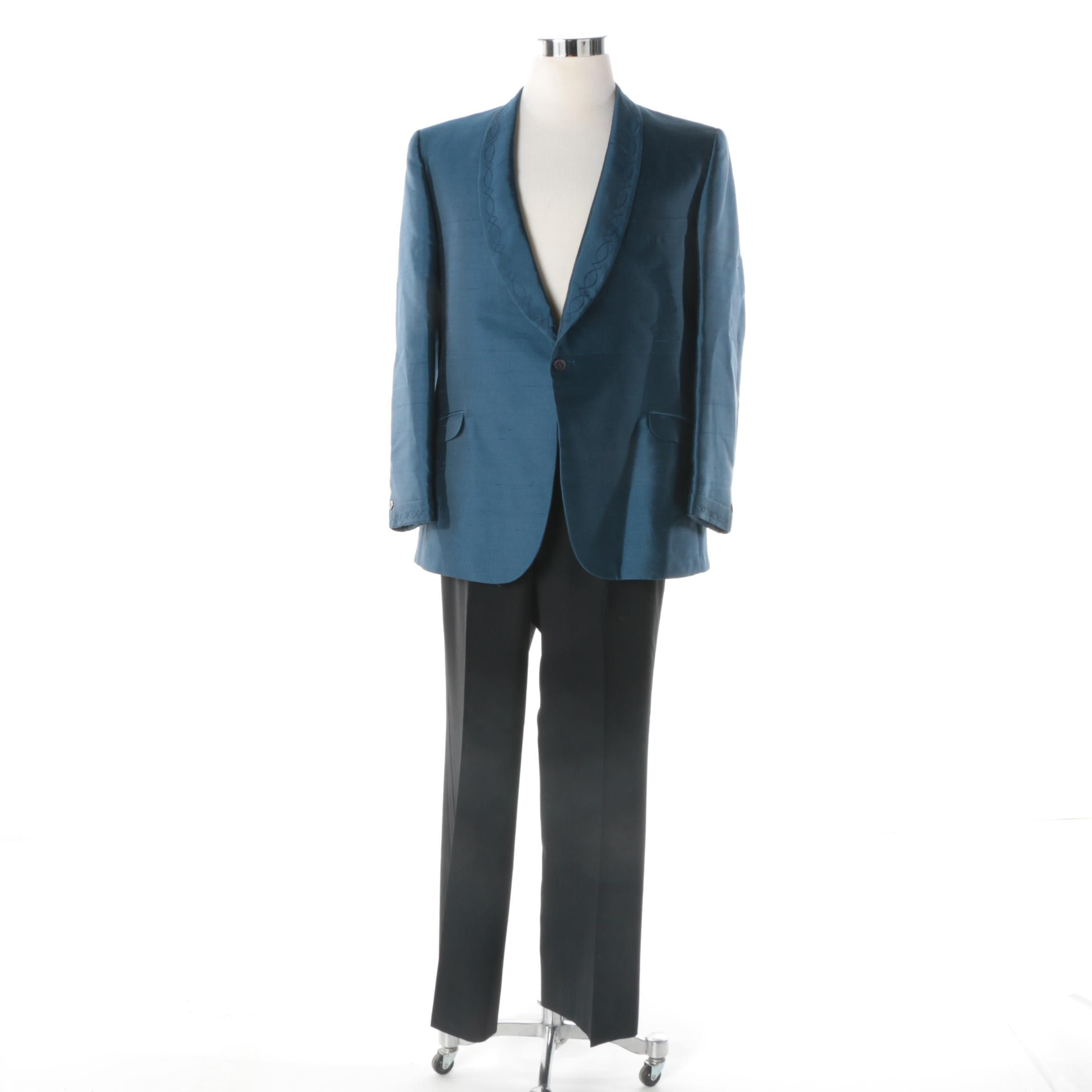 Men's Vintage Gingiss Formal Wear Silk Jacket Paired with Bill Blass Trousers