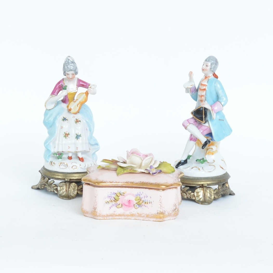 Collection of Porcelain Figurines and Boxed Dishes