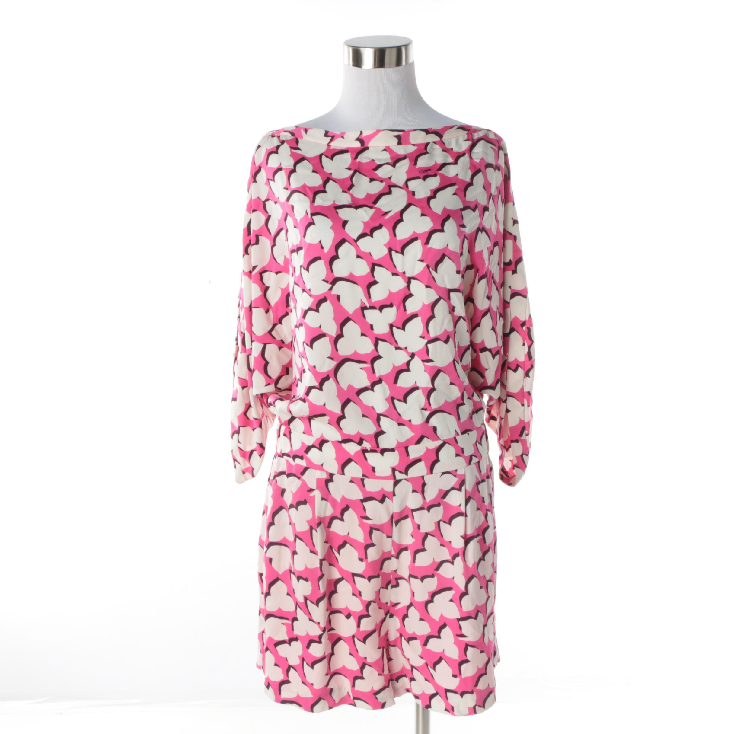 Diane von Furstenberg Soleil Floral Shadows Pink Romper in Silk Blend