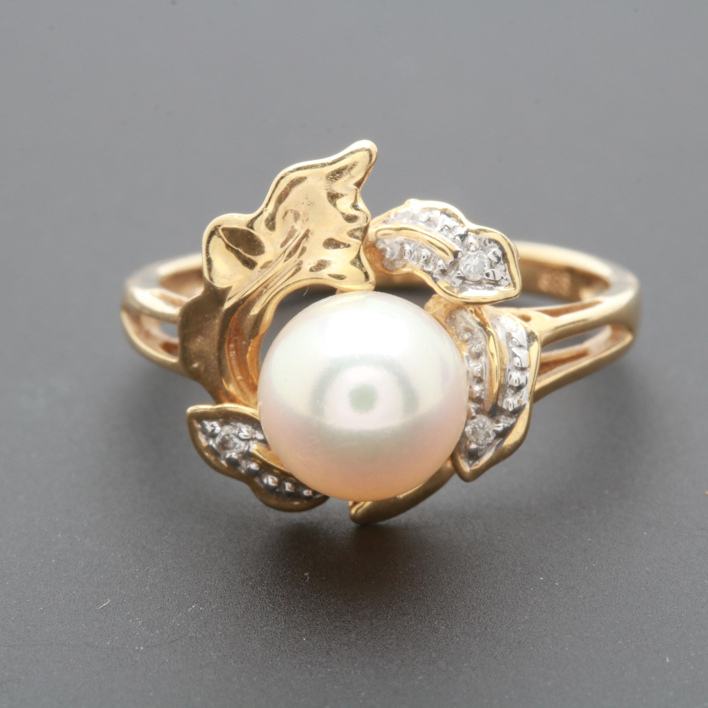 14K Yellow Gold Cultured Pearl and Diamond Ring with White Gold Accents