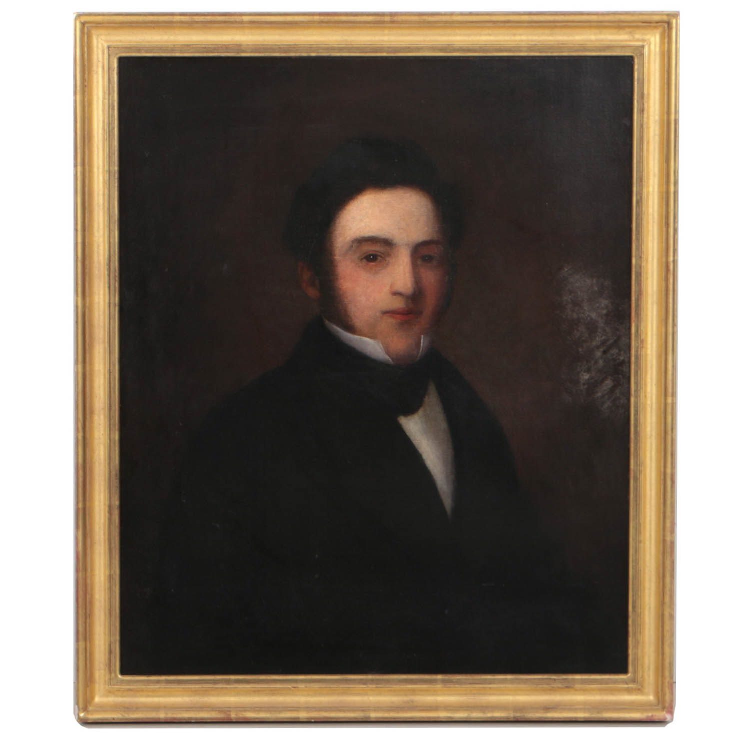 19th Century American School Oil Painting on Canvas of a Gentleman