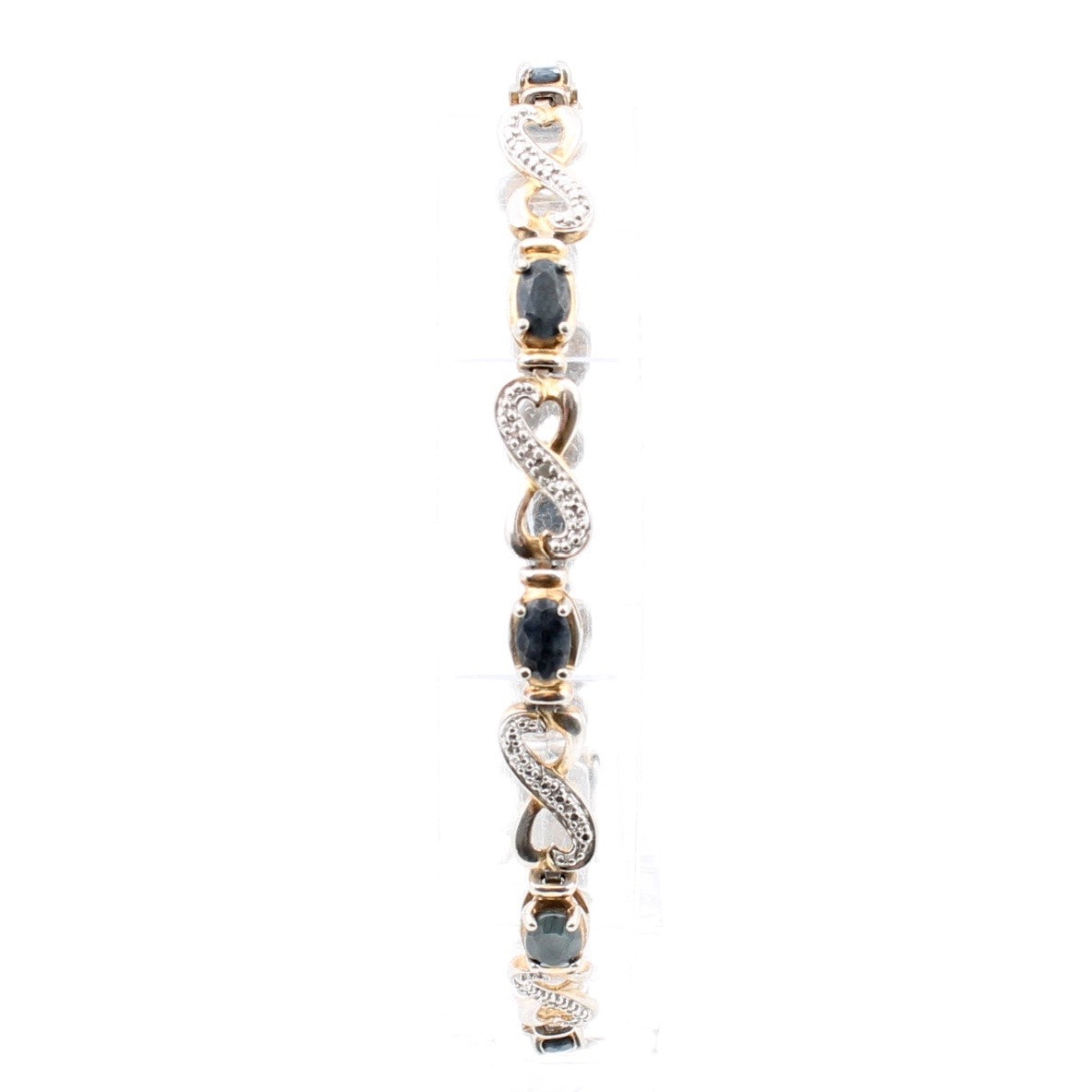 Gold Wash on Sterling Silver Sapphire Bracelet with Diamond Accent
