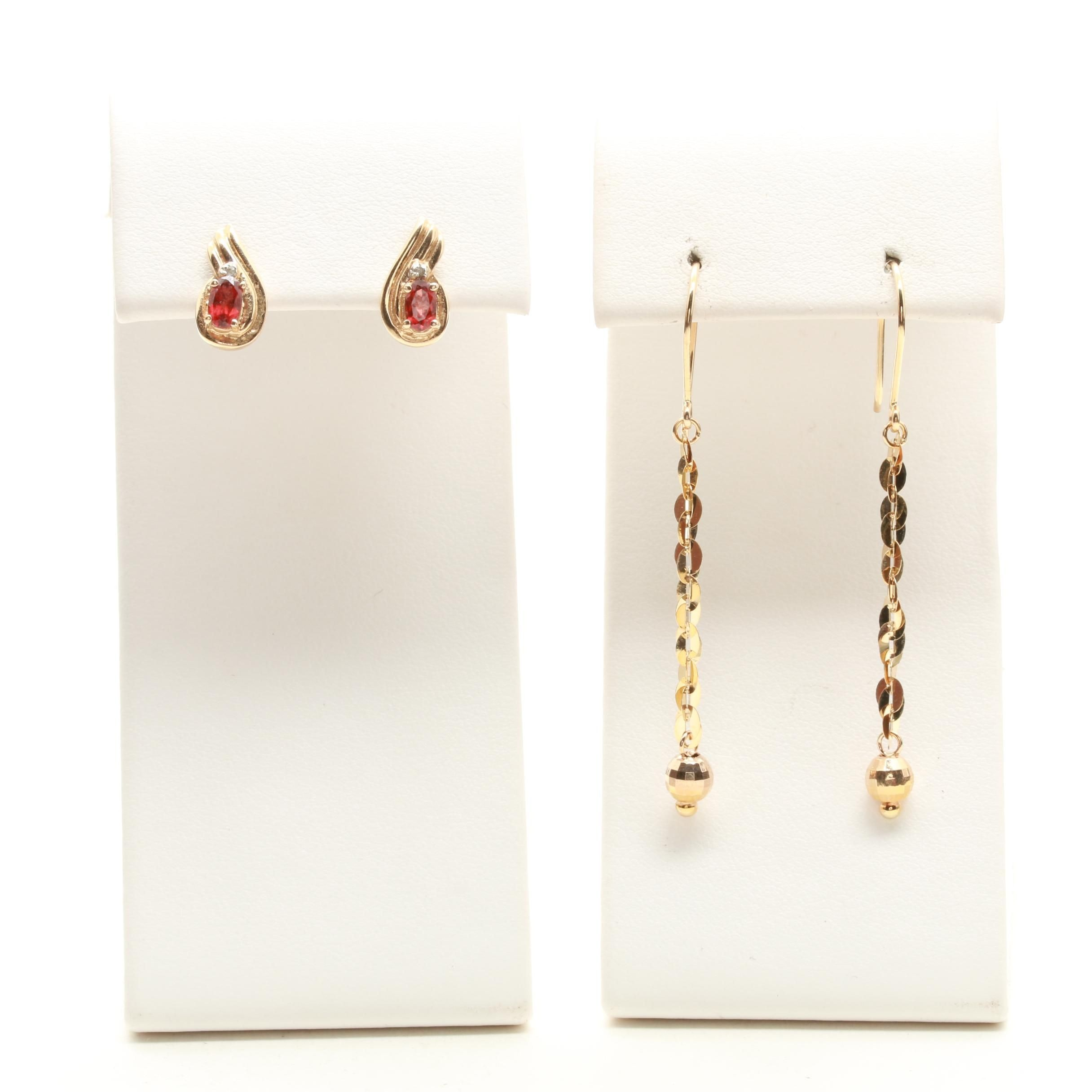 10K Yellow Gold Garnet and Diamond Earrings