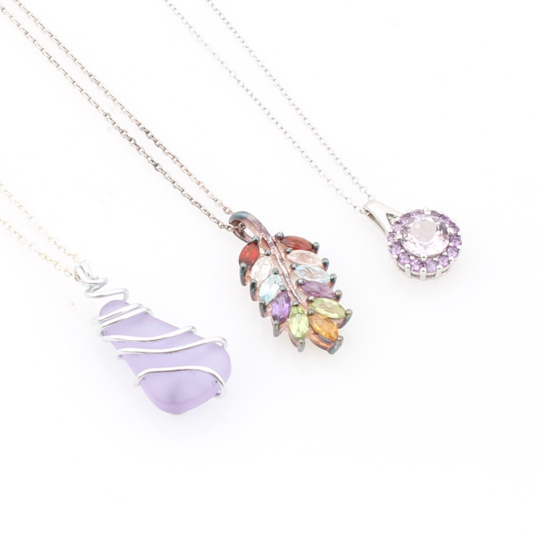 Three Sterling Silver Imitation Gemstone Pendant Necklaces