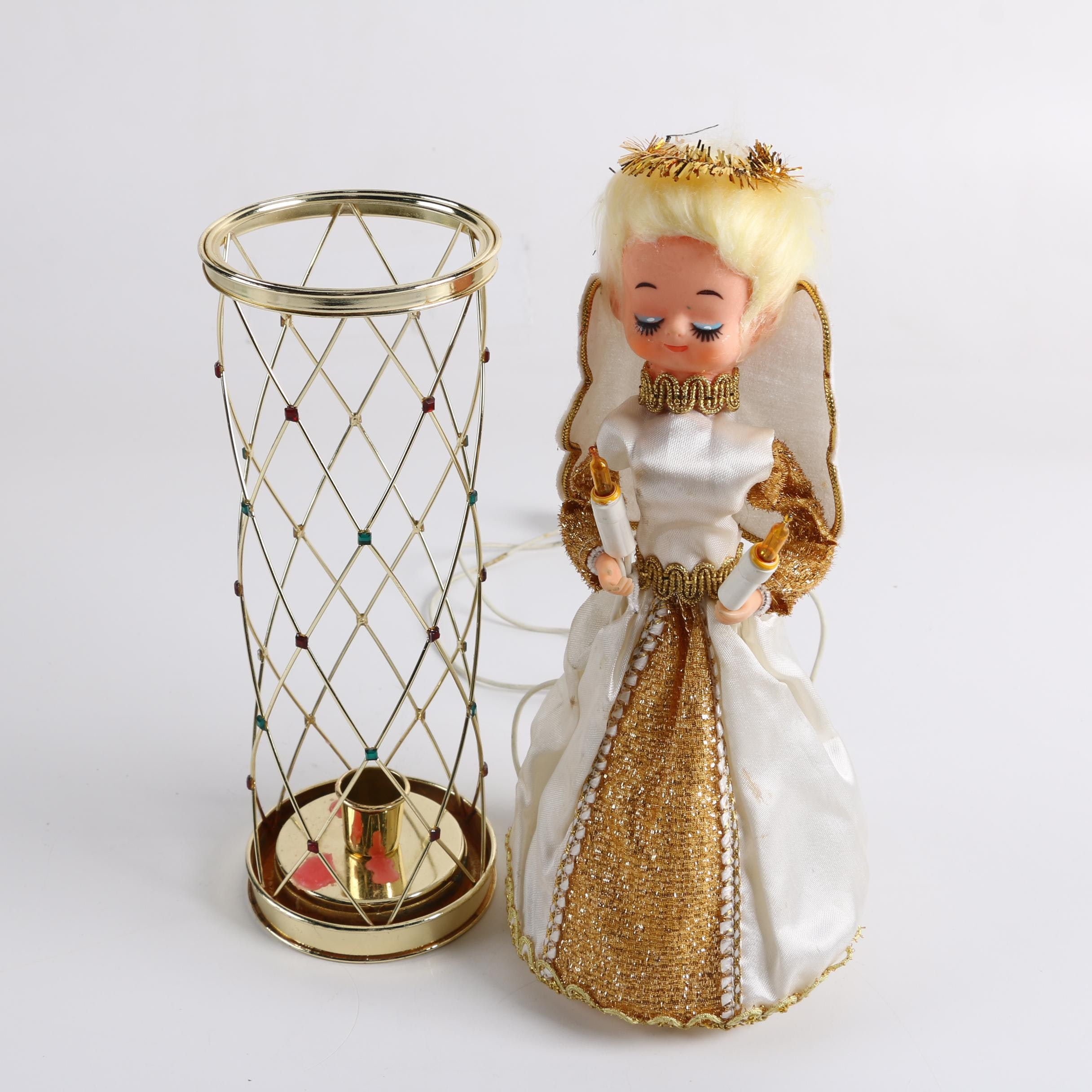 Gold Tone Candle Holder and Vintage Lighted Angel Tree Topper