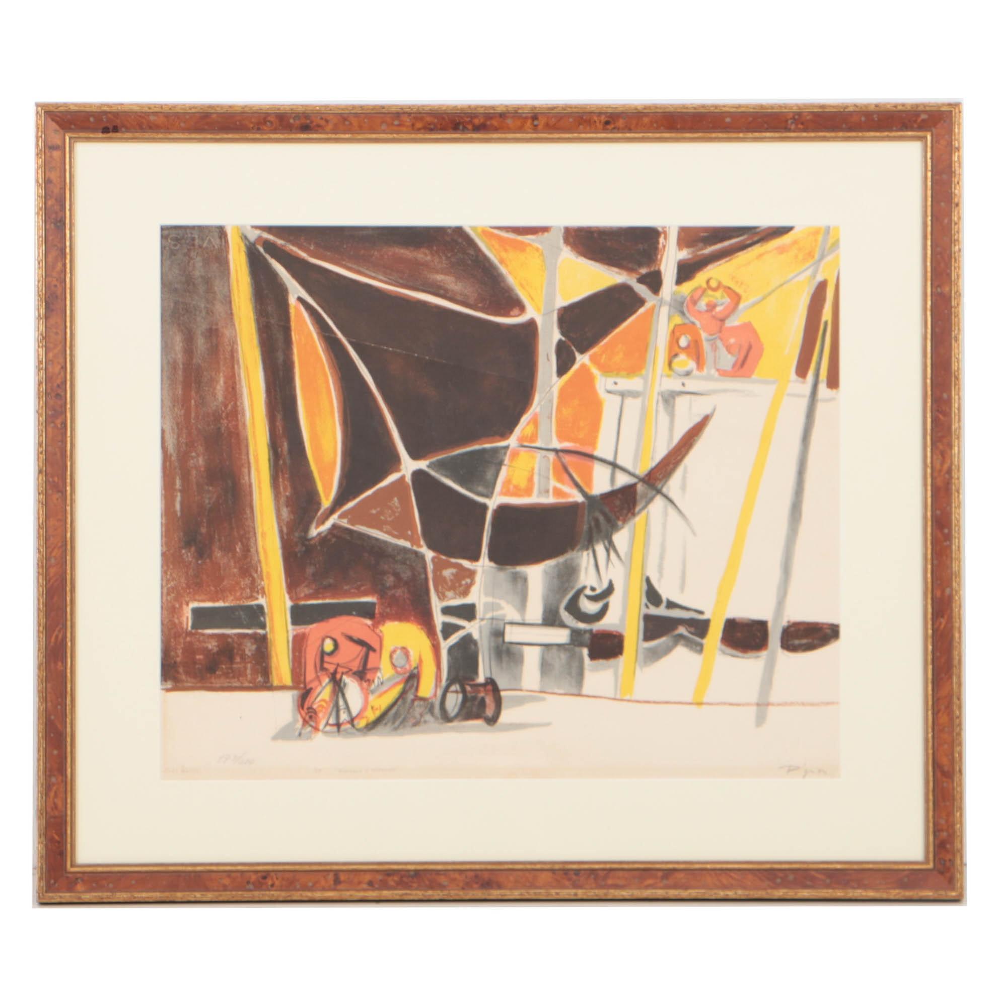 """Edouard Pignon 1955 Color Lithograph on Rives """"Bateaux à Ostende"""""""