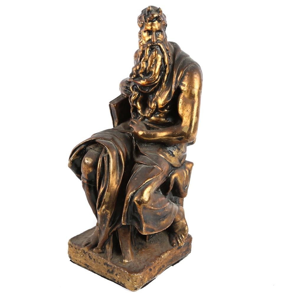 "Vintage After Michelangelo Composite Figurine ""Moses"""
