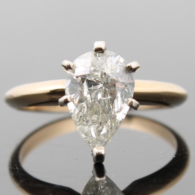 14K Yellow Gold 1.60 Carat Diamond Solitaire Engagement Ring