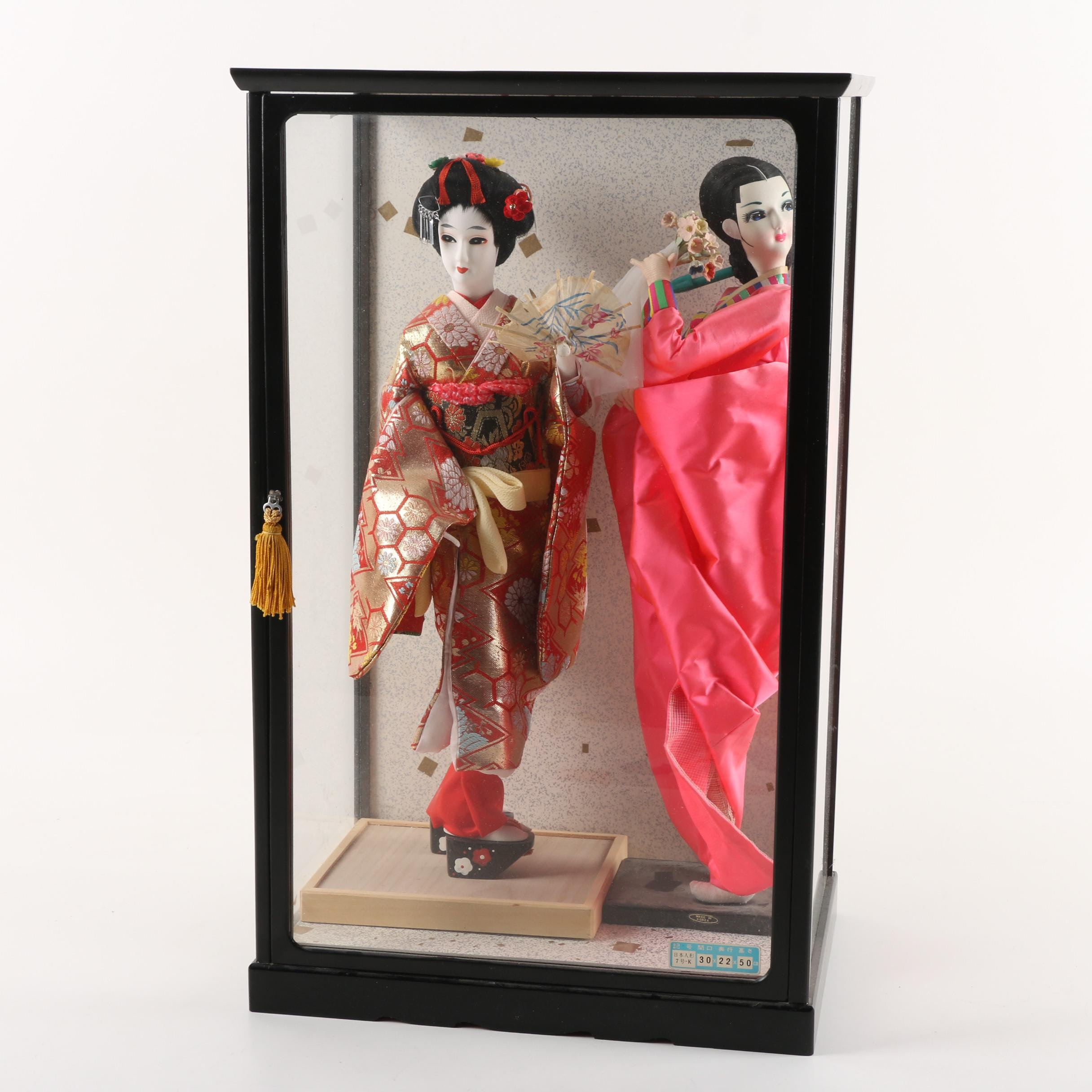 Vintage Japanese Porcelain Dolls in Display Case