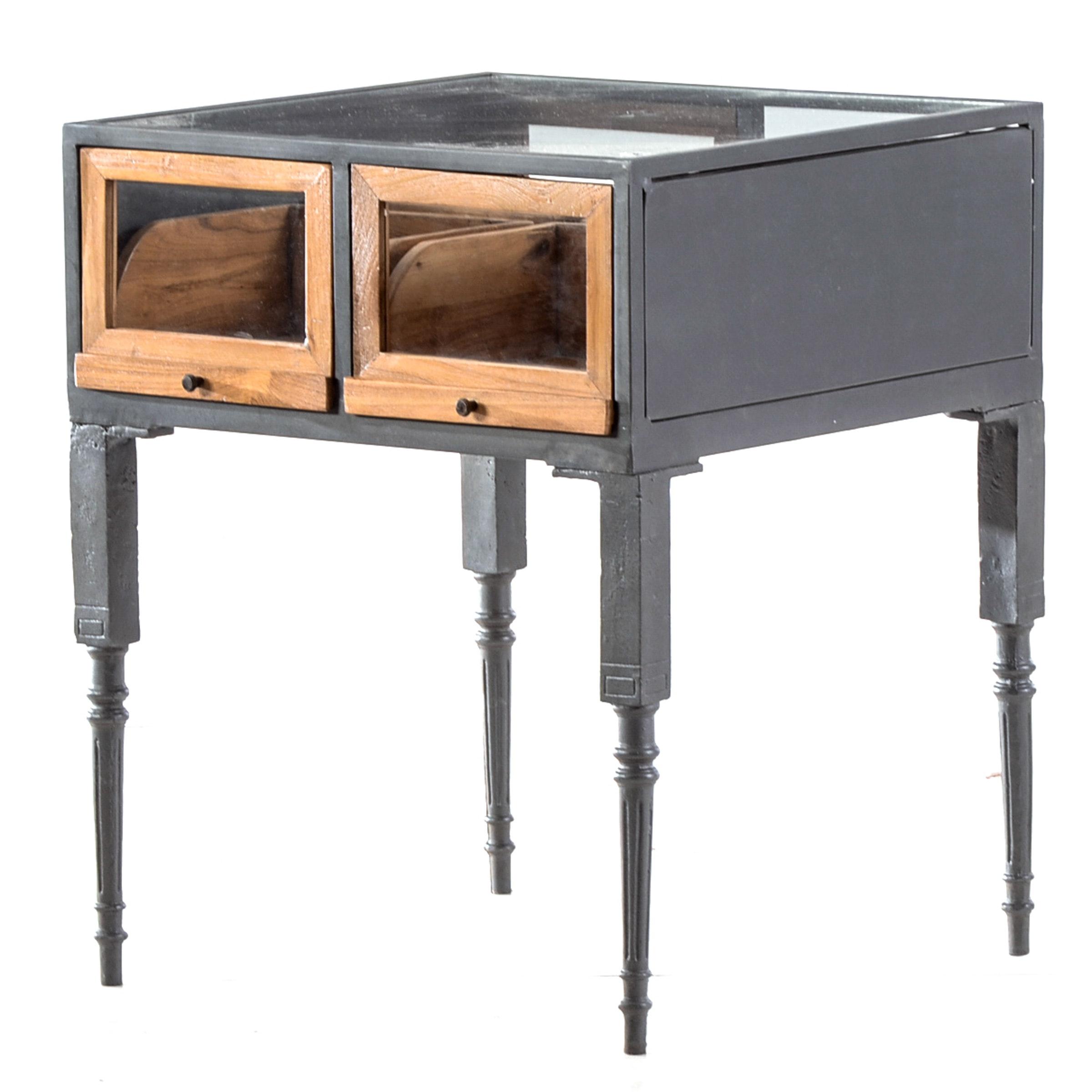 Sliding Wood and Glass Drawer Display Table