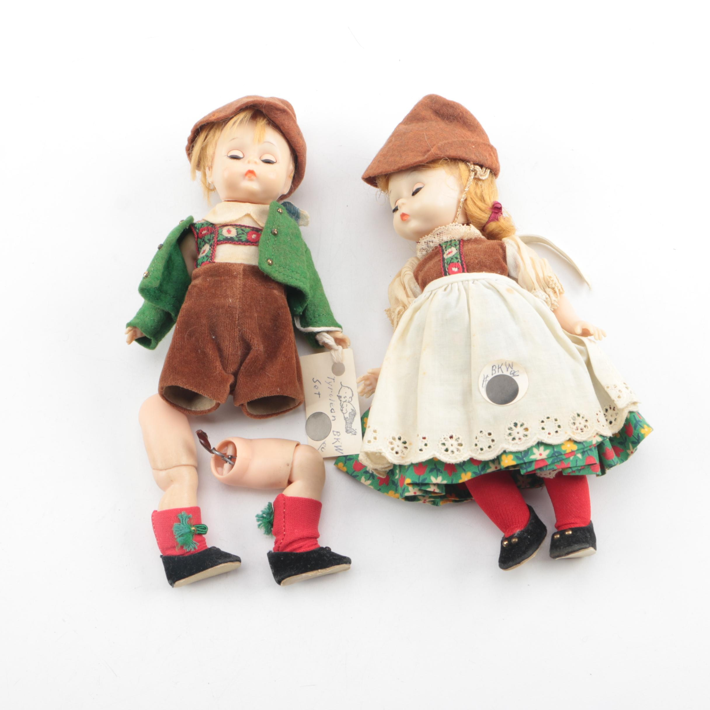 "1960s Madame Alexander ""Tyrolean"" Composition Dolls"