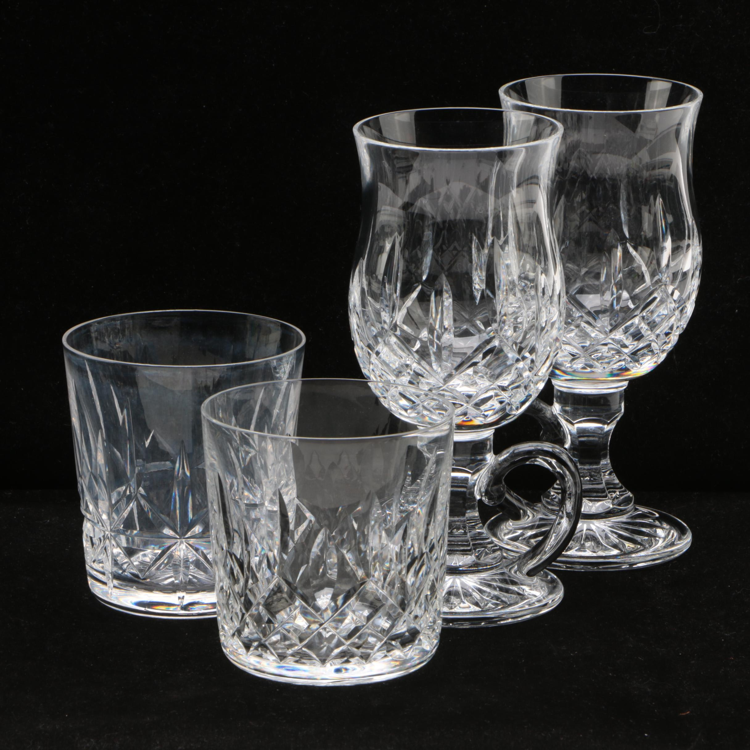"""Waterford Crystal """"Lismore"""" Irish Coffee Cups and Old Fashioned Glasses"""