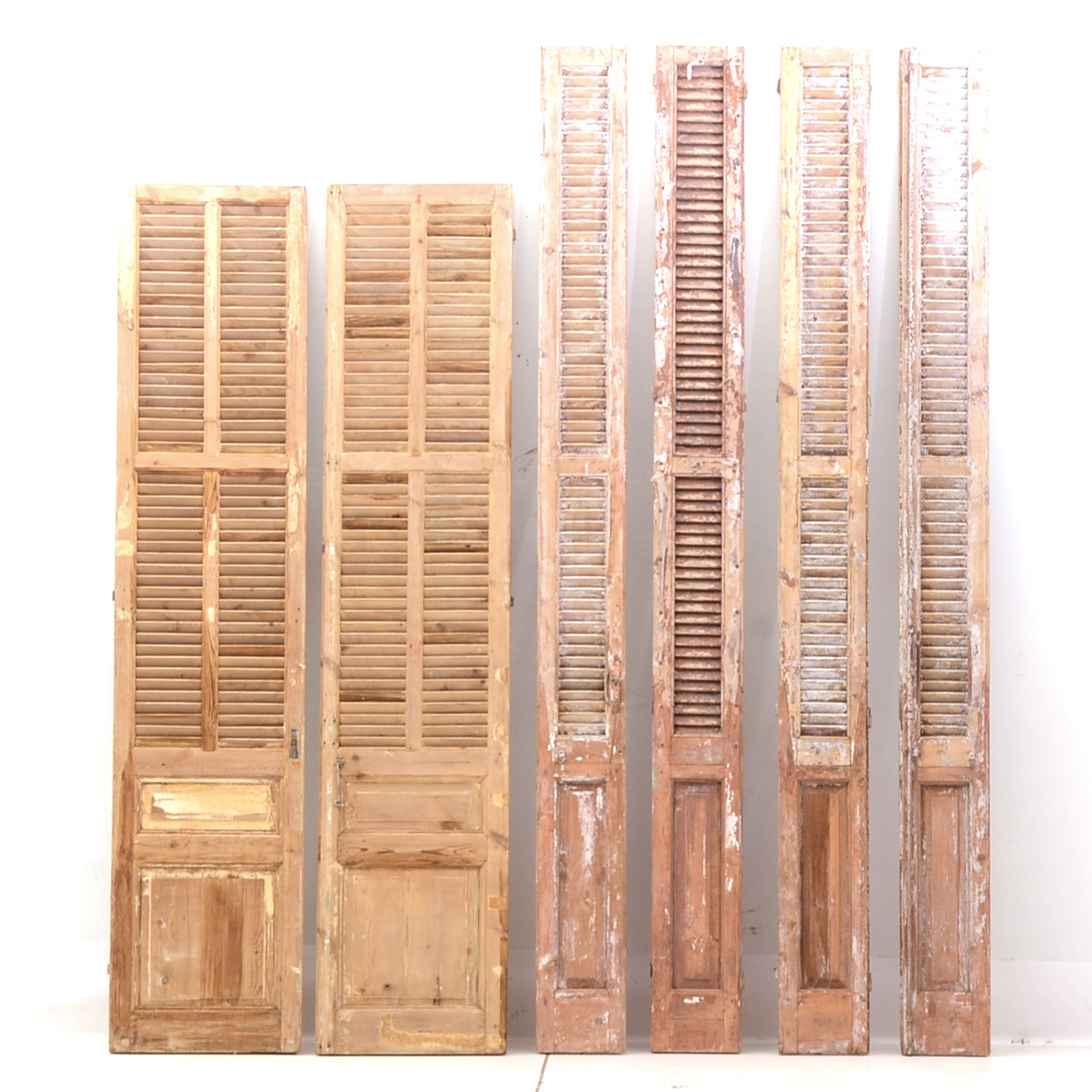 Set of Tall Weathered Wood Shutters