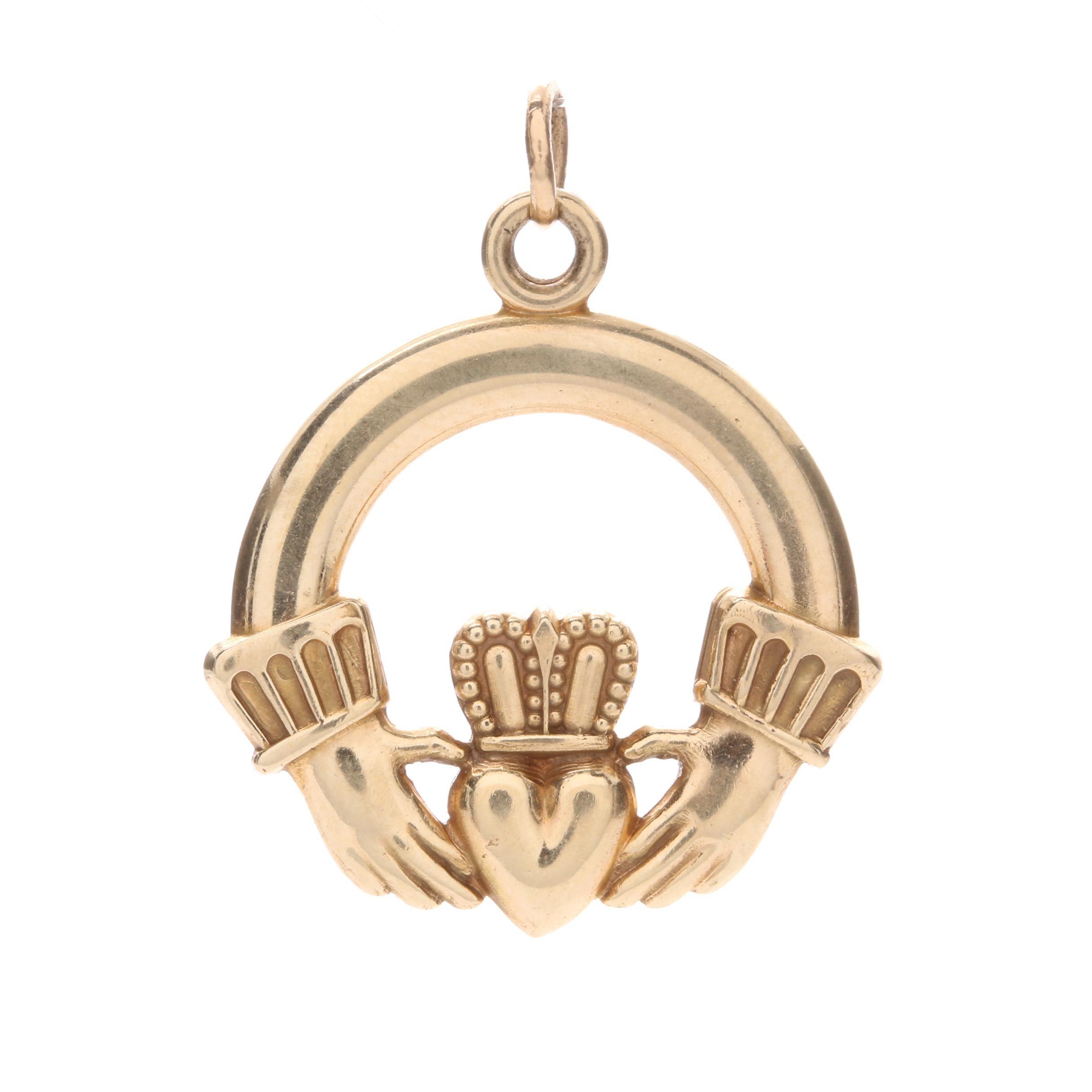 14K Yellow Gold Claddagh Charm Pendant
