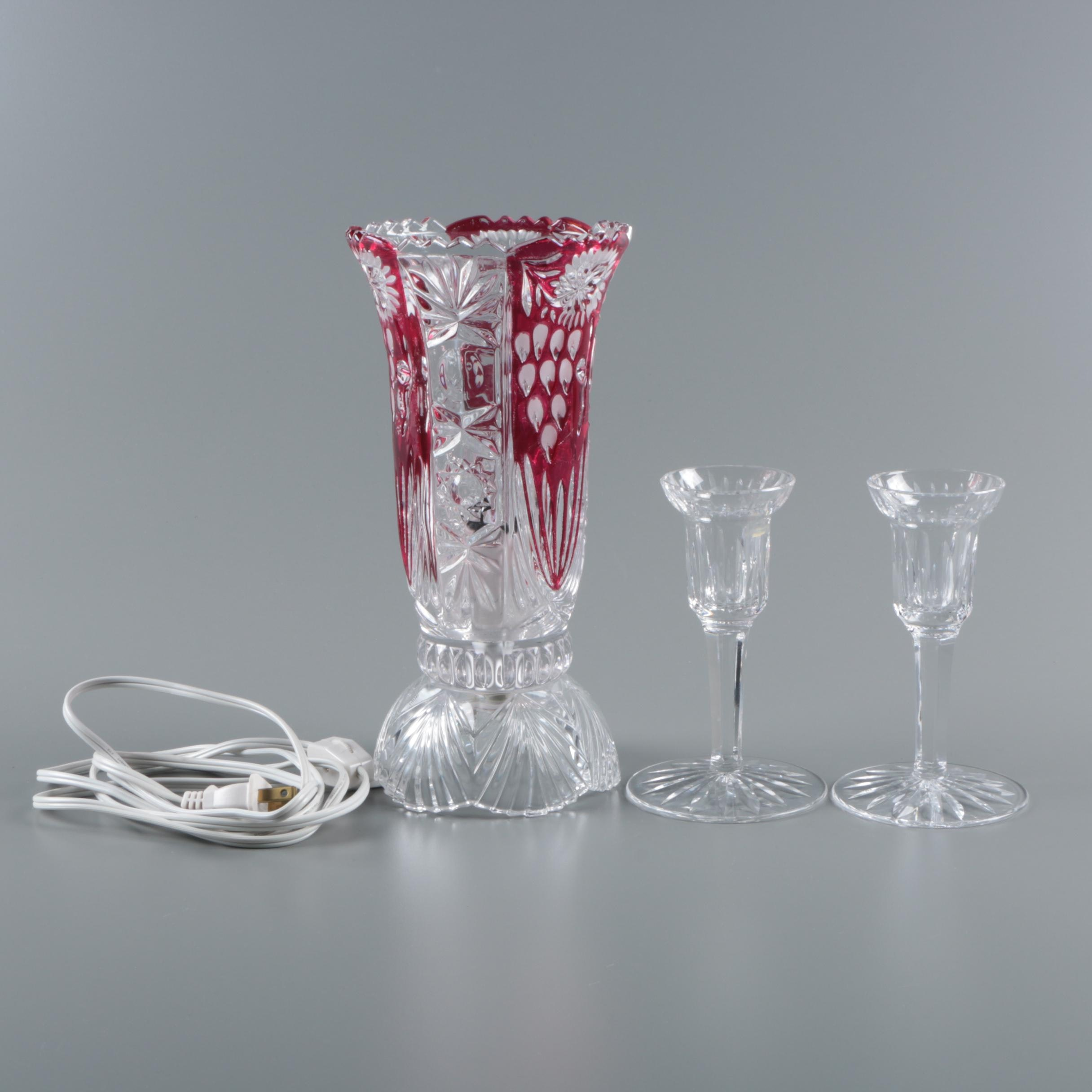 "Ruby Flashed Crystal Vase Lamp and Waterford ""Lismore"" Crystal Candle Holders"