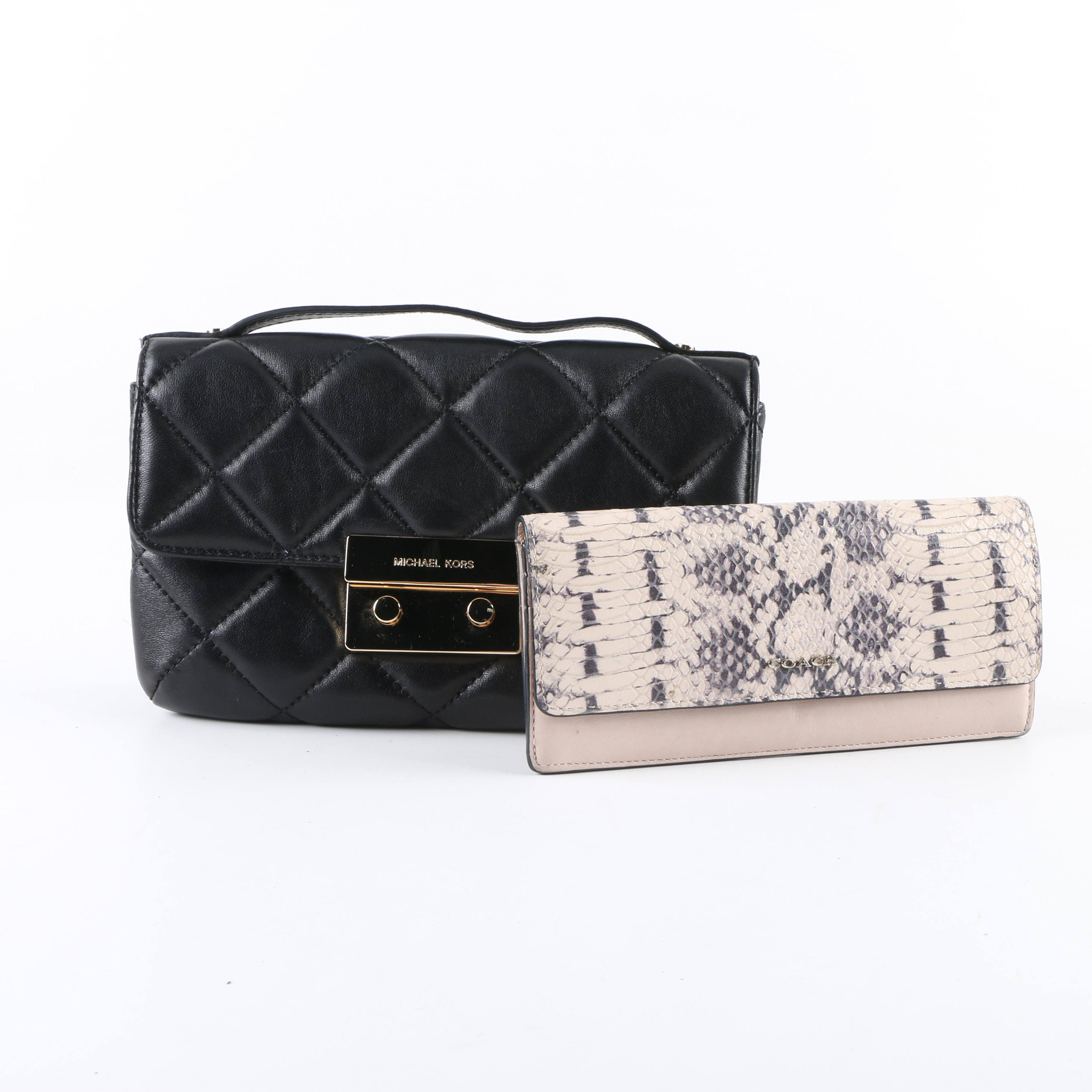 Michael Kors Quilted Black Leather Convertible Clutch with Coach Wallet