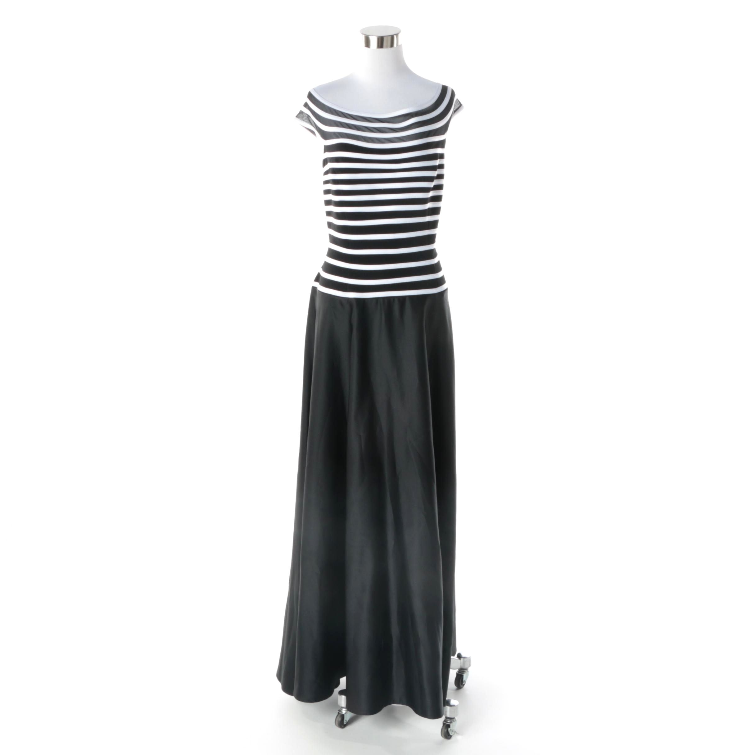 JS Collections Black and White Striped Evening Dress