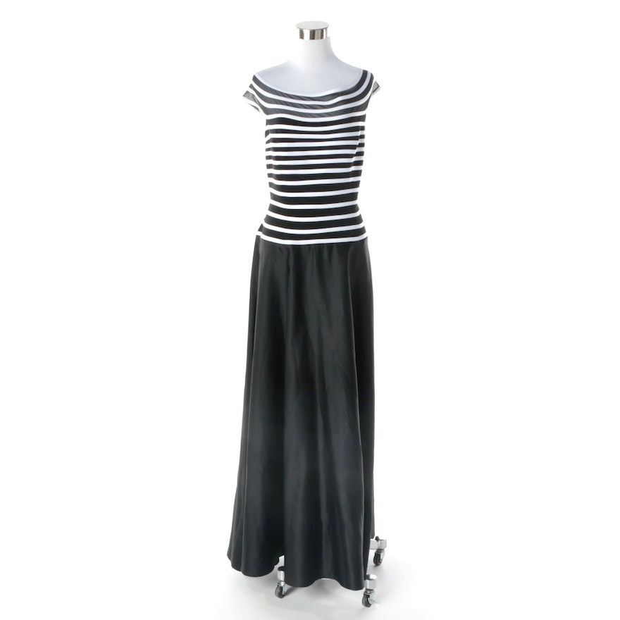 JS Collections Black and White Striped Evening Dress : EBTH