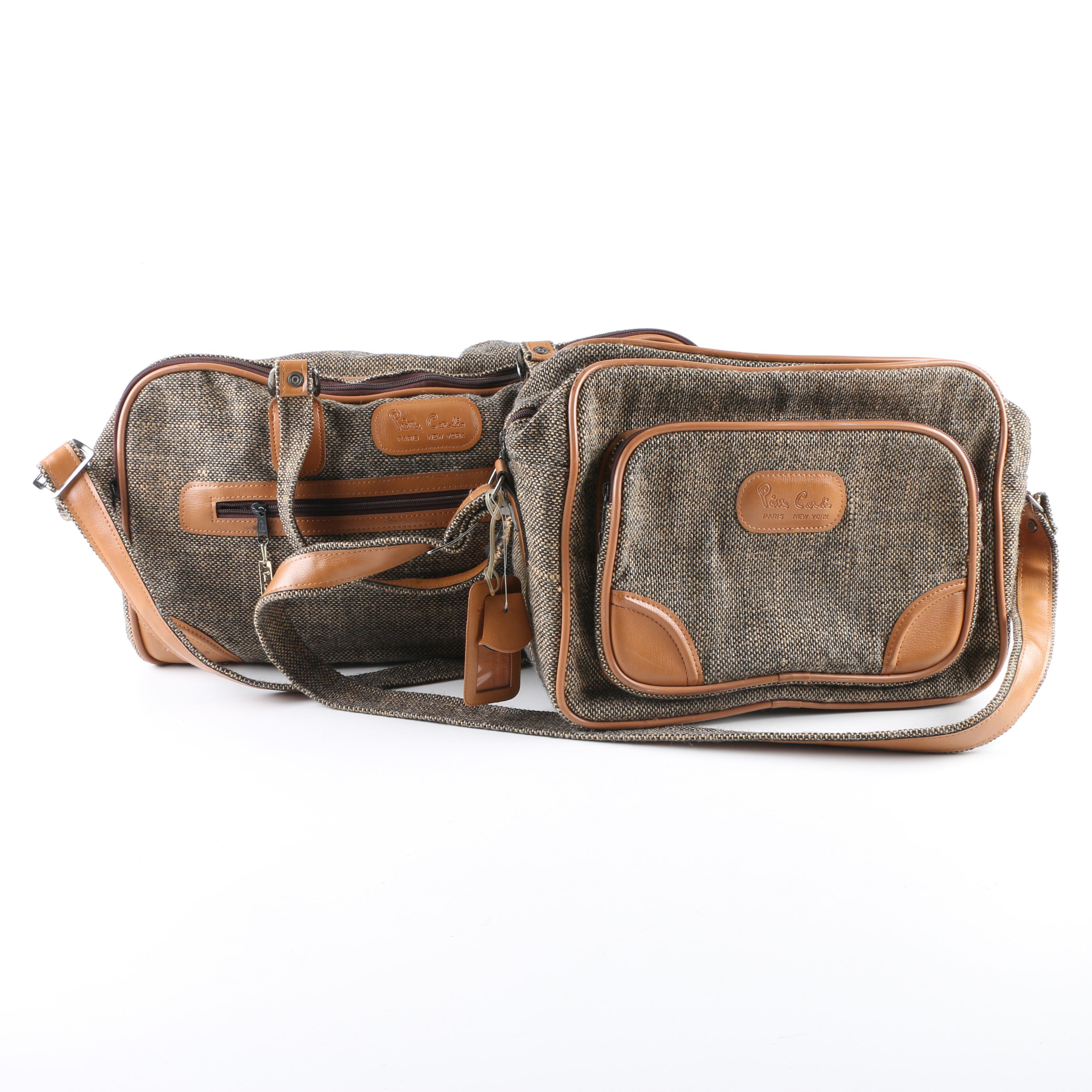 Vintage Pierre Cardin Tweed Duffel and Carry-On Bag